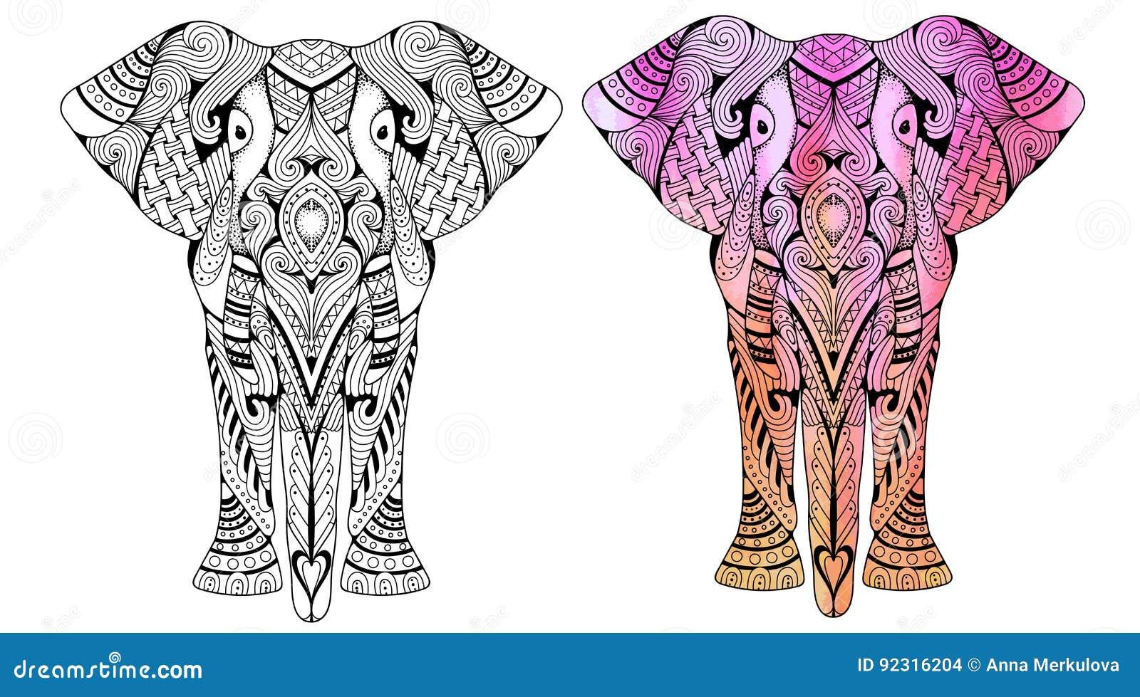 Coloriage Elephant Pour Adulte.Livre De Coloriage D Elephant Pour L Illustration De Vecteur D