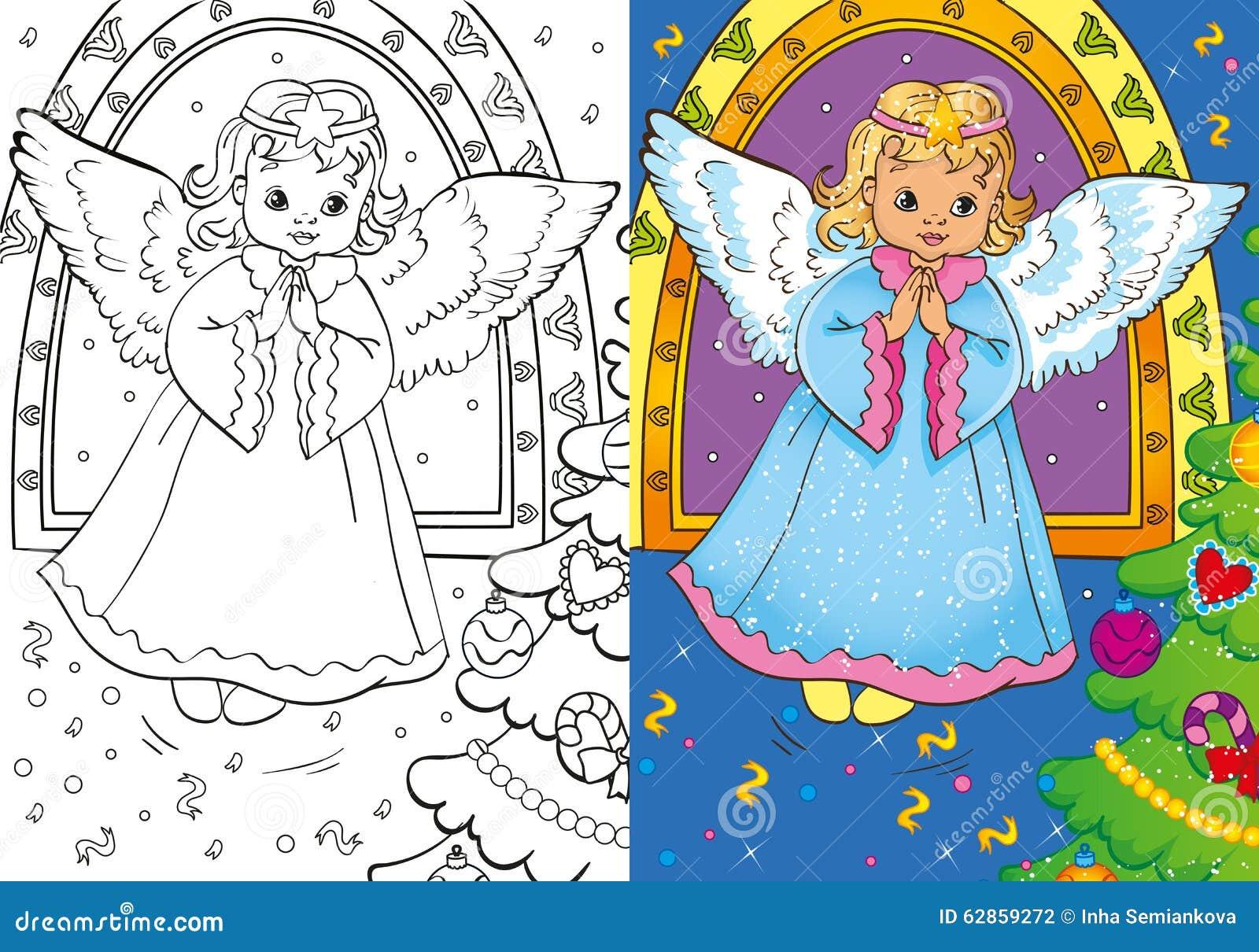 Livre de coloriage d 39 ange de no l illustration stock - Coloriage d ange ...