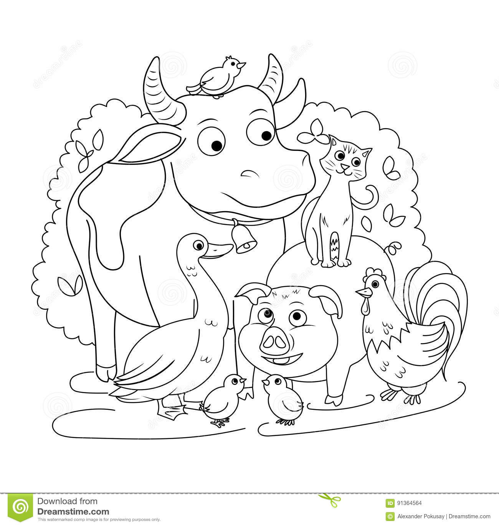 Animaux De La Ferme Pour Coloriage.Livre De Coloriage D Animaux De Ferme Pour Le Vecteur D Enfants