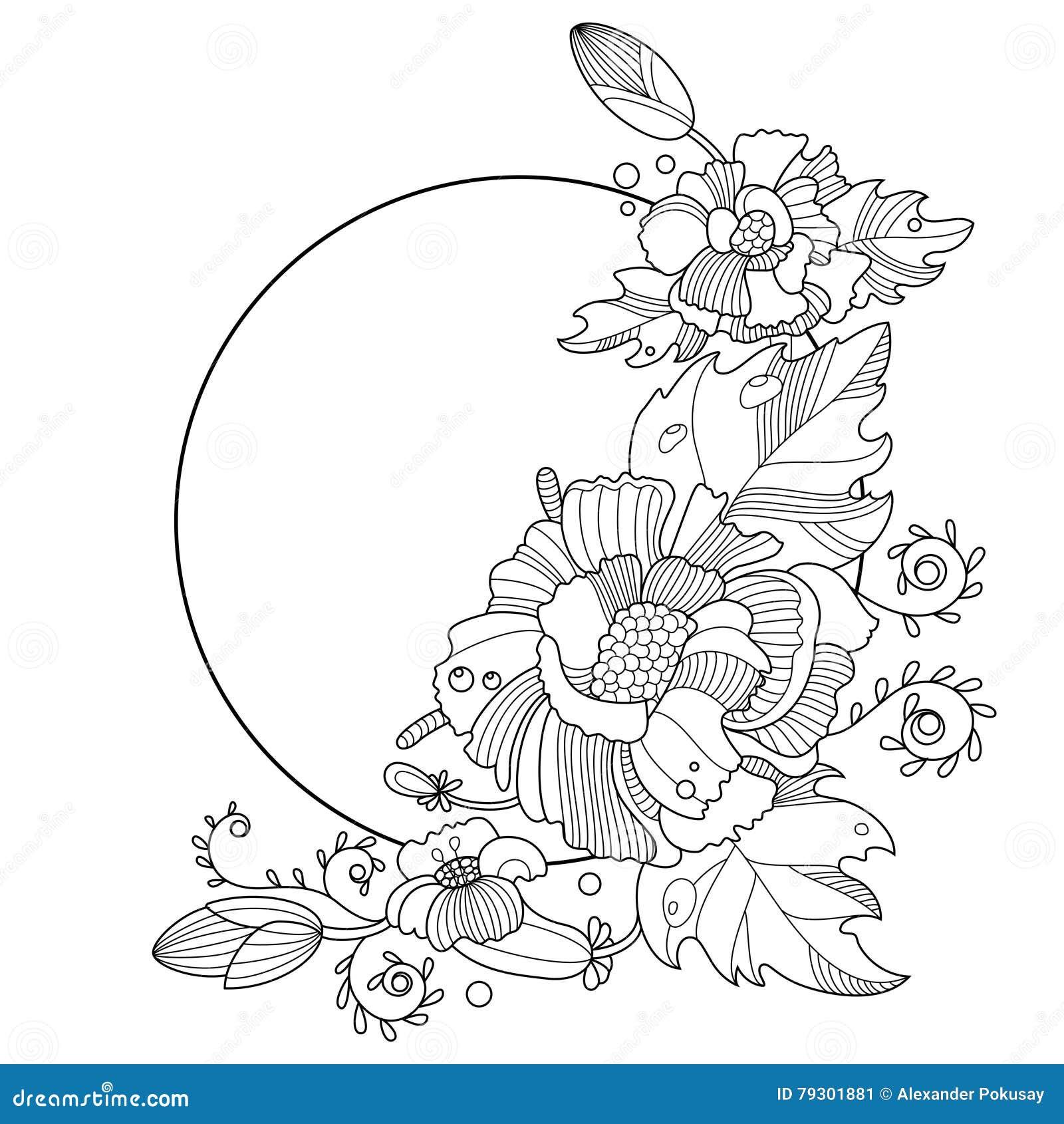 Coloriage Guirlande Fleurs.Livre De Coloriage D Ornement De Fleurs Pour Le Vecteur D
