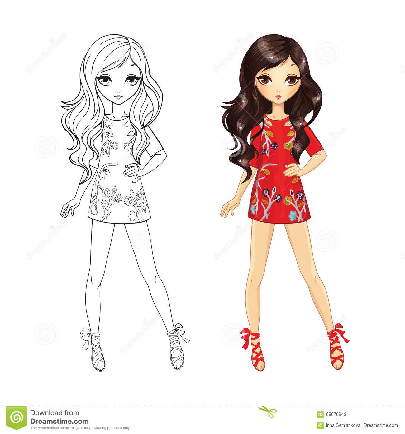 illustration stock livre de coloriage de brune de mode image