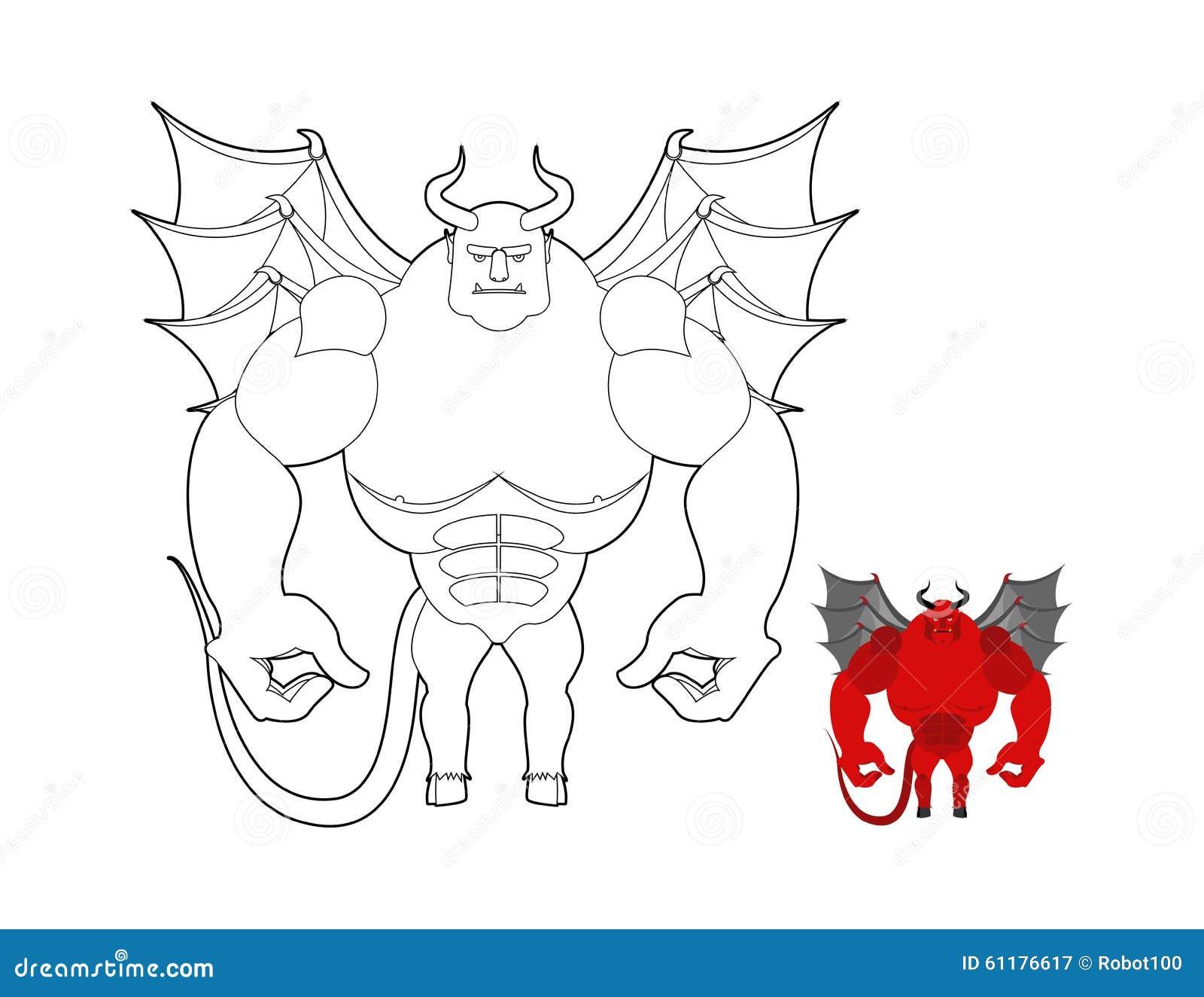 Livre de coloriage de diable d mon rouge avec des ailes et des klaxons ter de helluva - Coloriage de diable ...