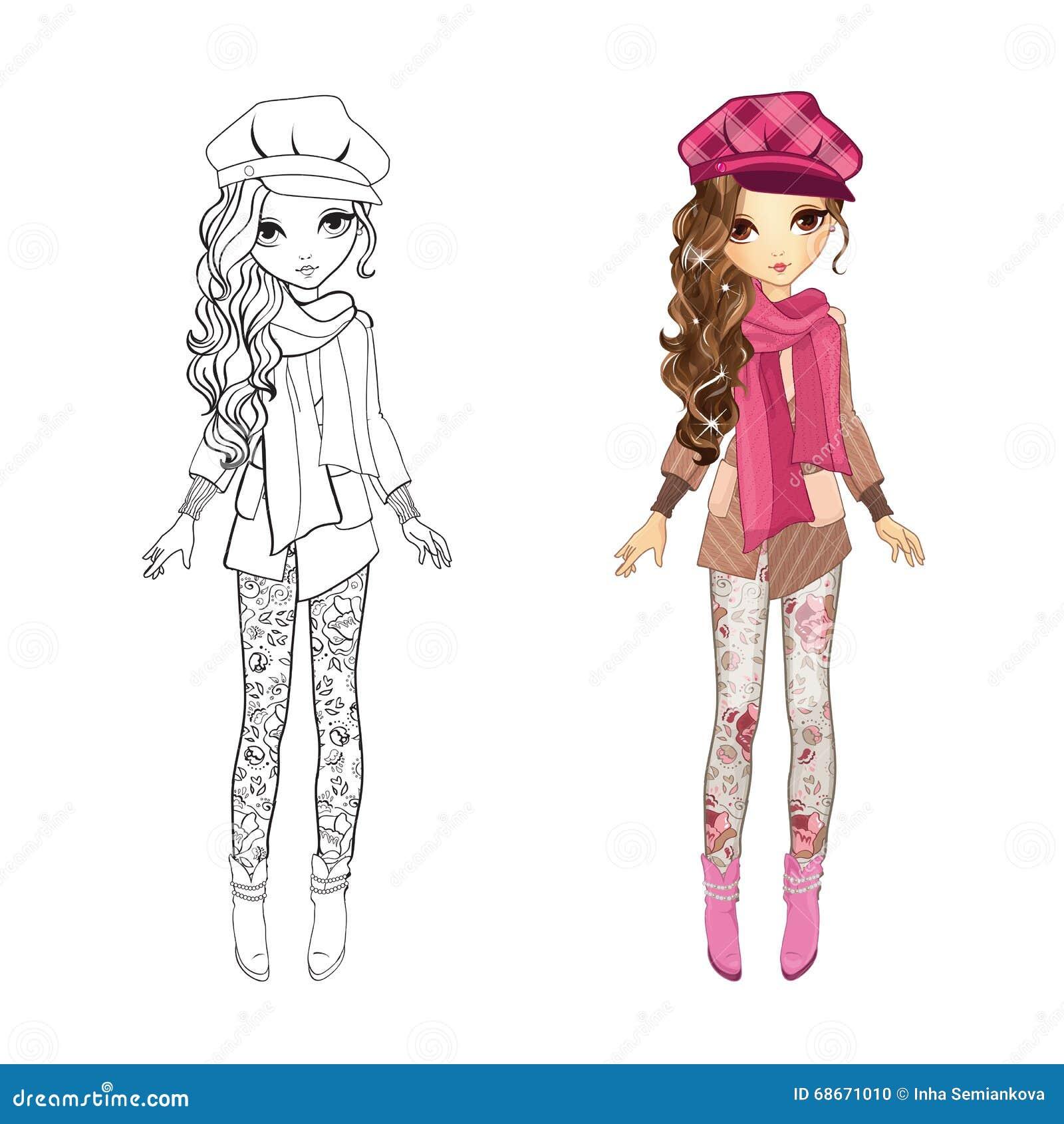 Livre de coloriage de fille dans le manteau illustration - Dessin de fille de mode ...