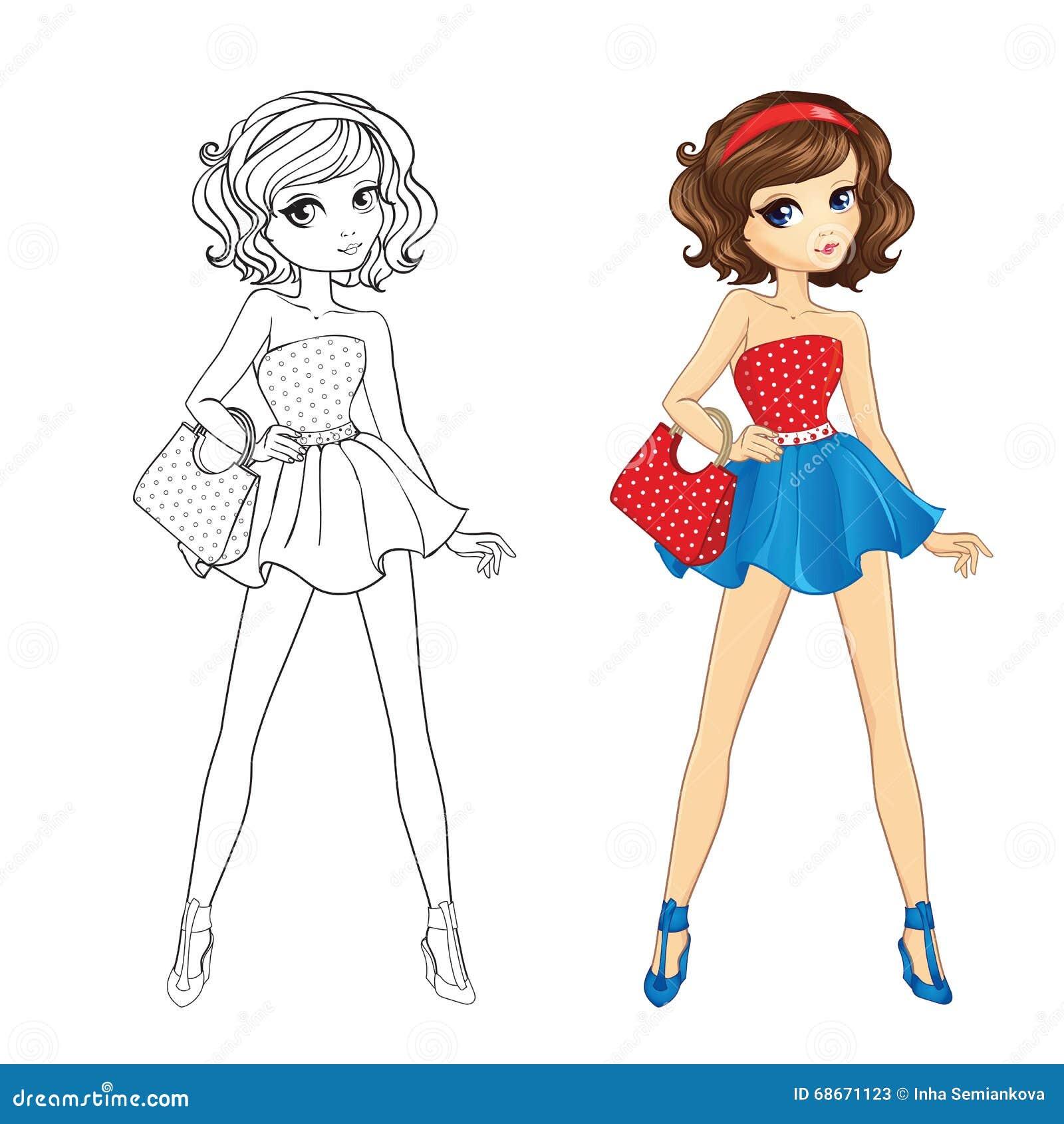 Livre de coloriage de fille de pin up illustration de - Dessin de fille ...