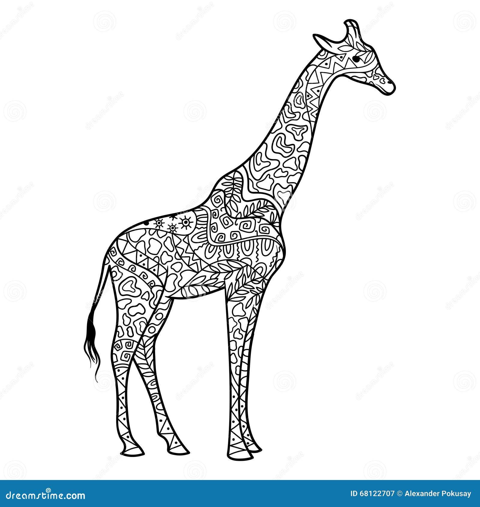 Coloriage Girafe Mandala.Livre De Coloriage De Girafe Pour Le Vecteur D Adultes