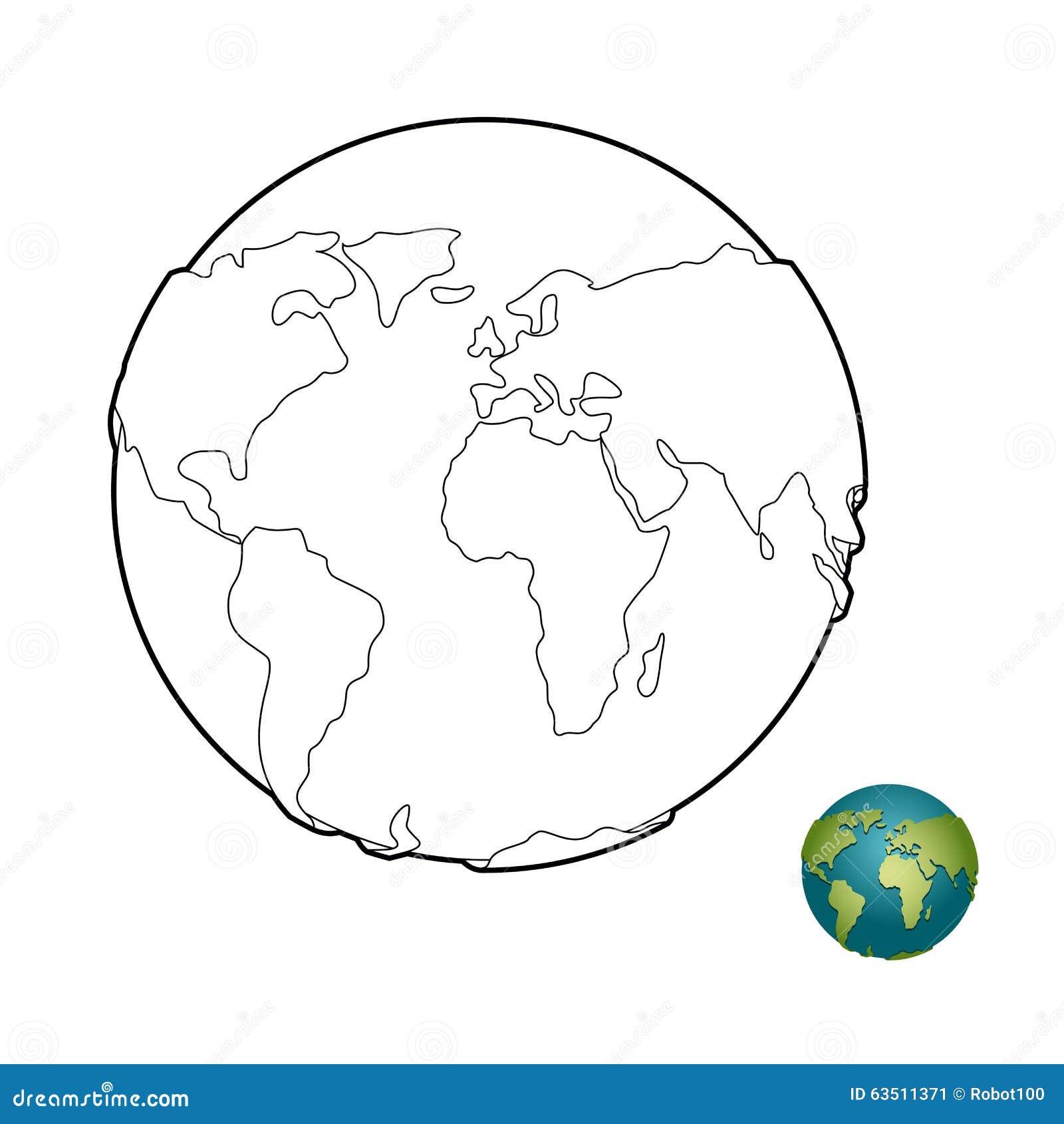 livre de coloriage de la terre corps merveilleux plan te avec des continents globe image stock. Black Bedroom Furniture Sets. Home Design Ideas