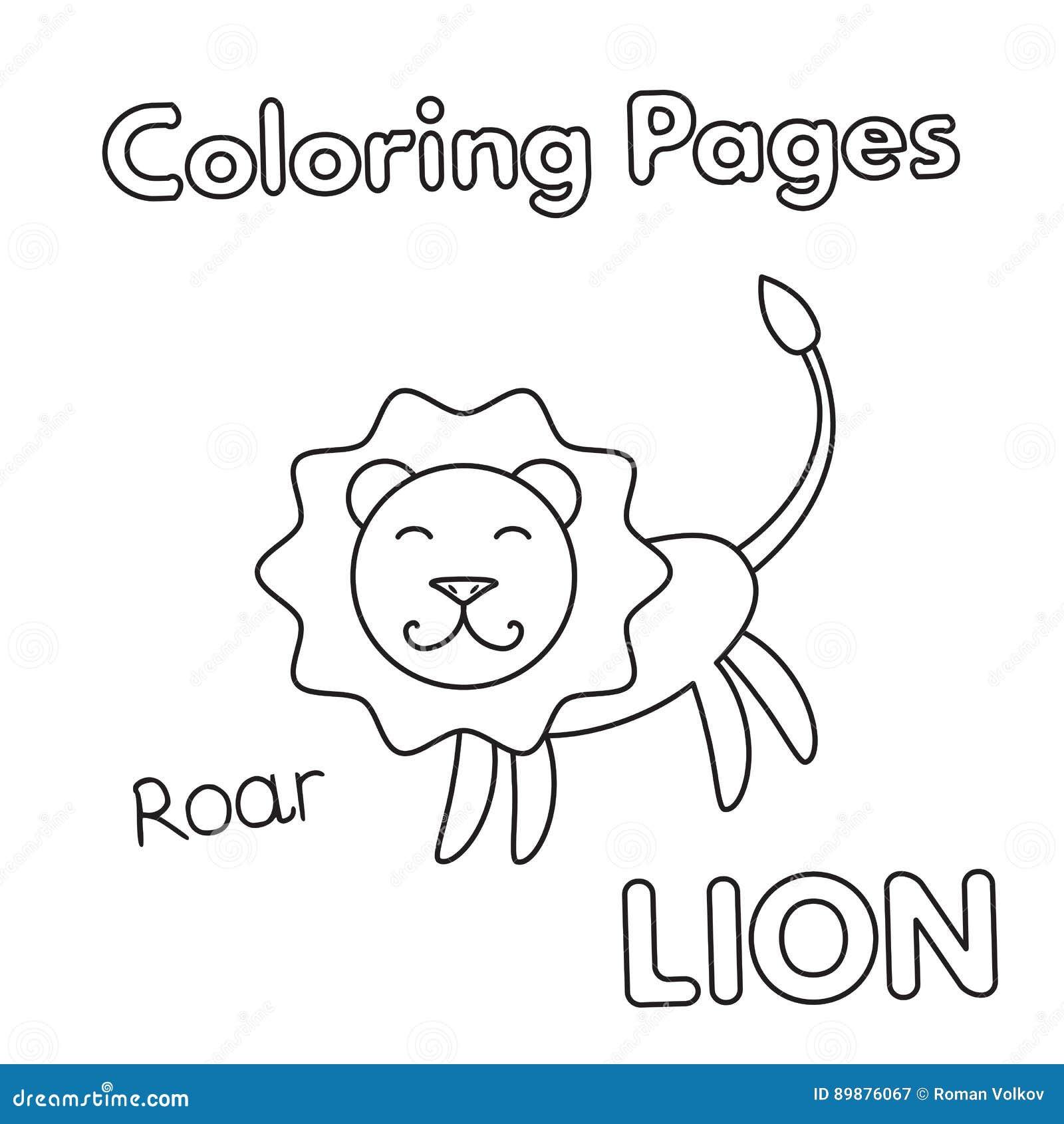 Livre De Coloriage De Lion De Bande Dessinee Illustration De Vecteur