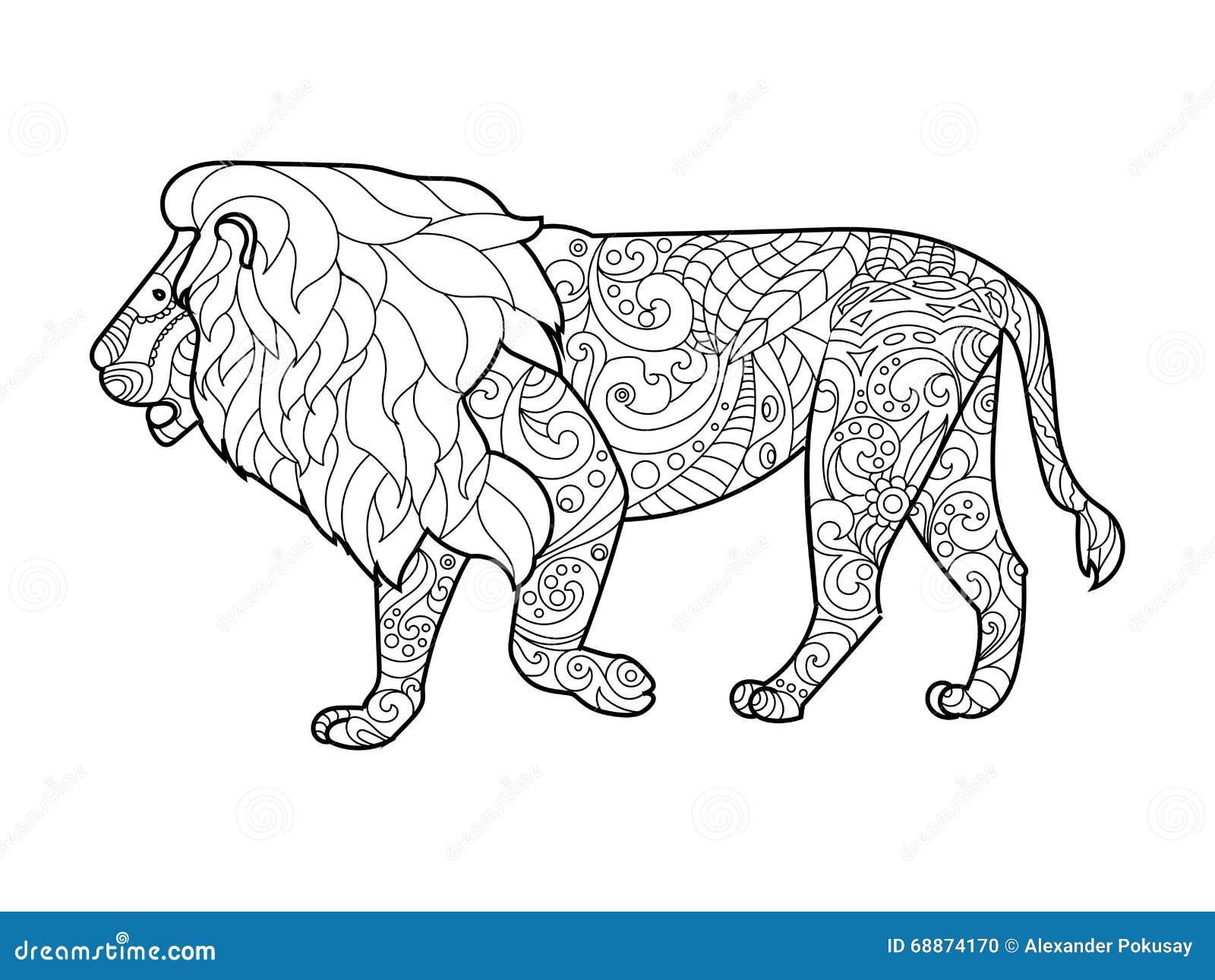 Livre De Coloriage De Lion Pour Le Vecteur D Adultes Illustration De