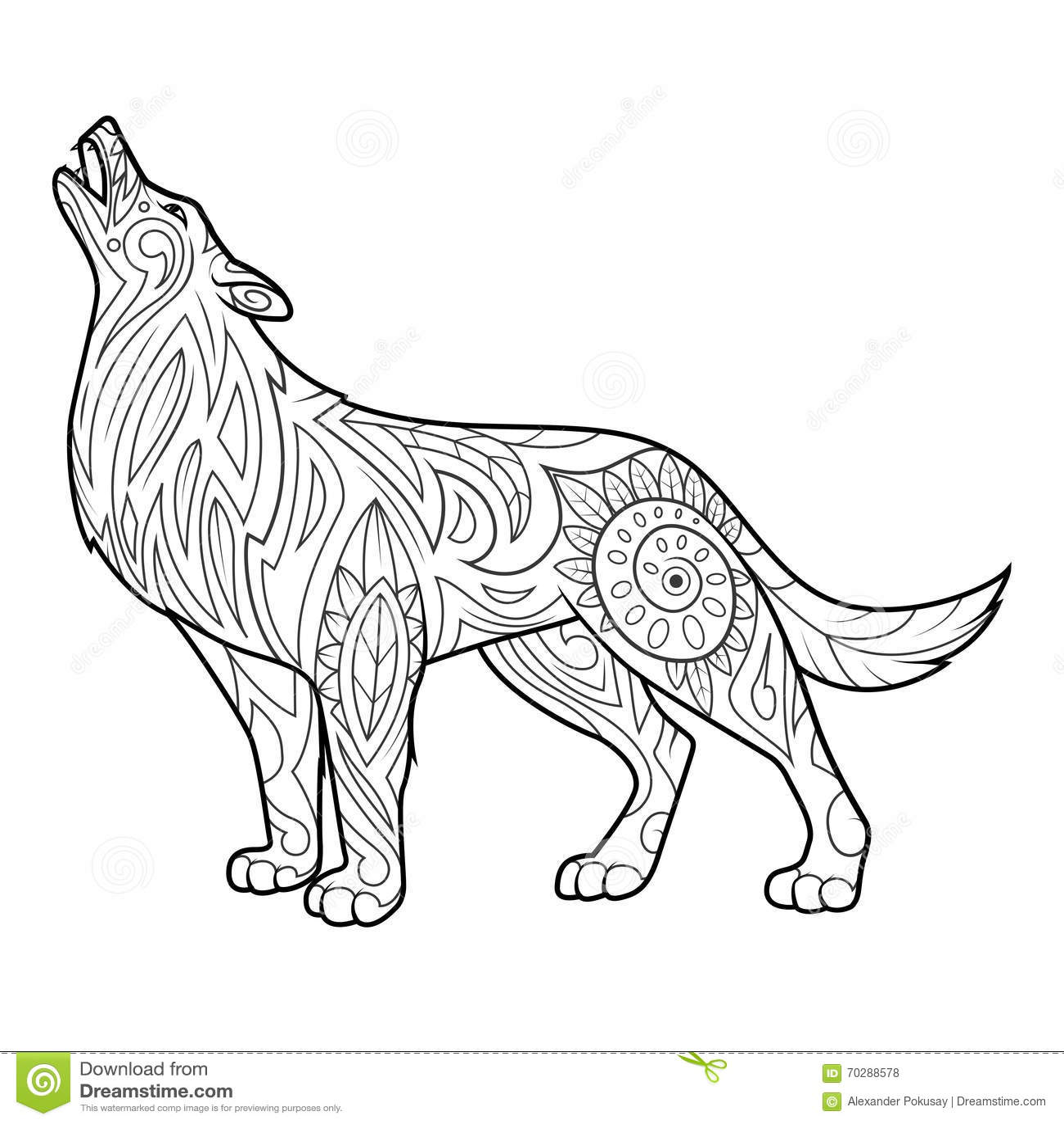 Coloriage Adulte Loup.Livre De Coloriage De Loup Pour Le Vecteur D Adultes Illustration De