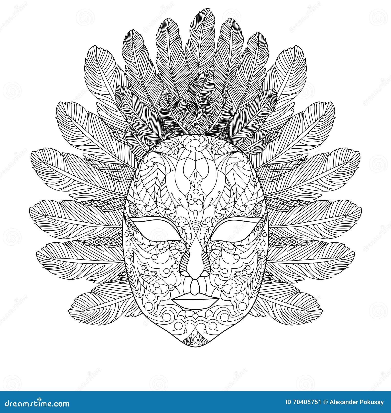 Livre de coloriage de masque de carnaval pour le vecteur d 39 adultes illustration de vecteur - Masque a dessiner ...
