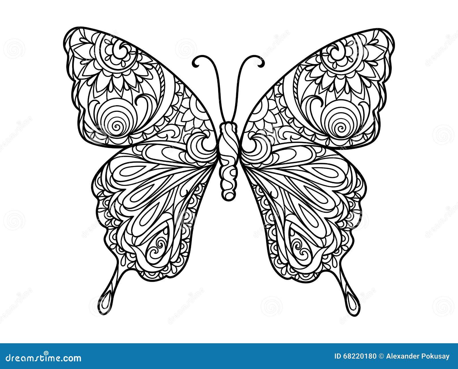 adulte coloration d illustration l livre papillon vecteur tatouage dessin