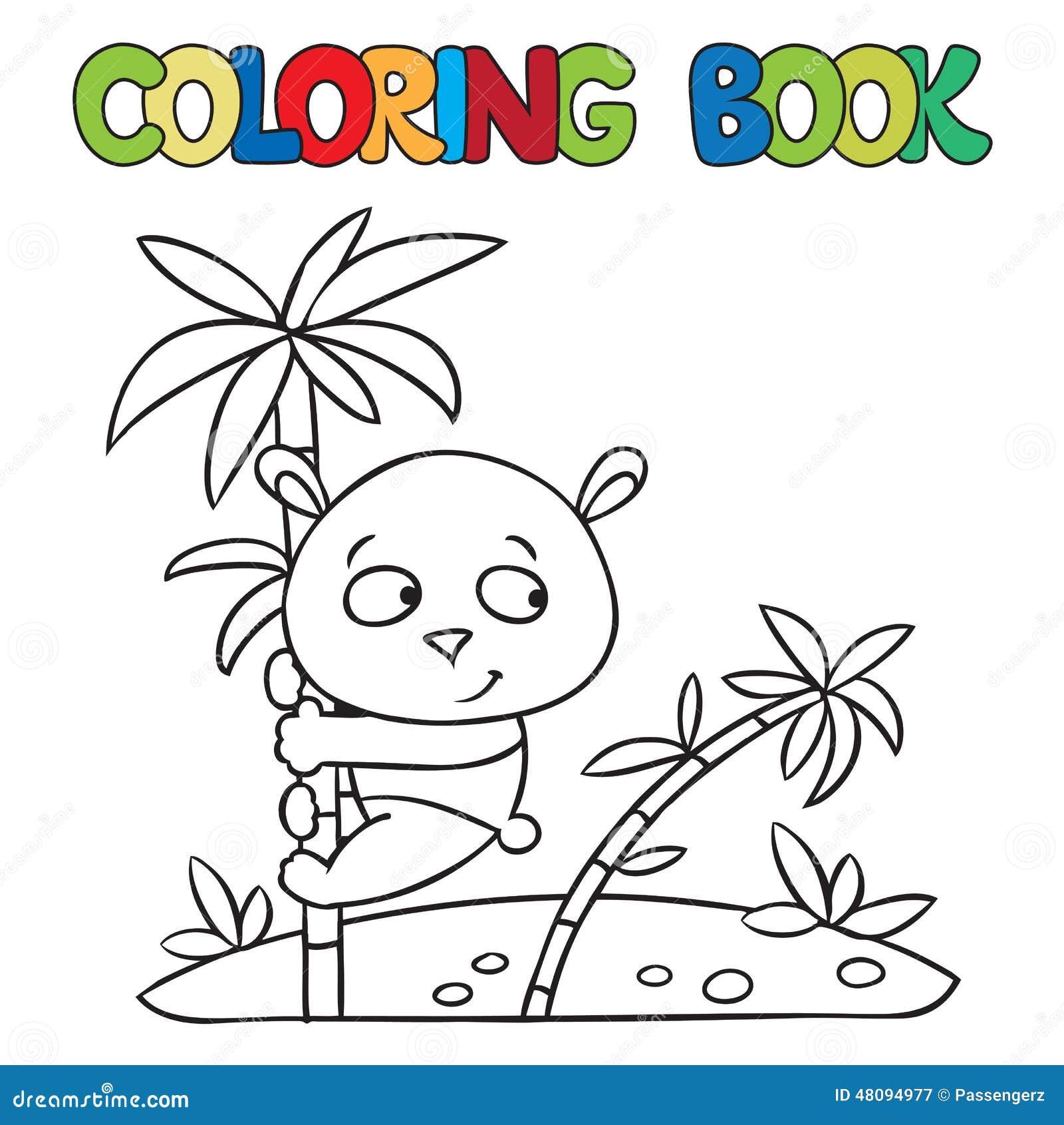 Livre de coloriage de petit panda sur le bambou illustration stock image 48094977 - Coloriage petit panda ...