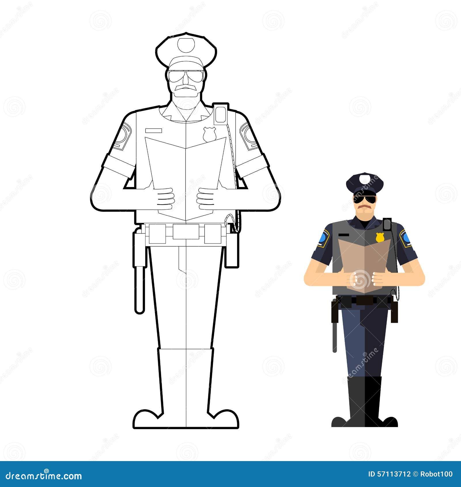 Livre De Coloriage De Policier Policier Au Travail Illustration De Vecteur Illustration Du Policier Coloriage 57113712