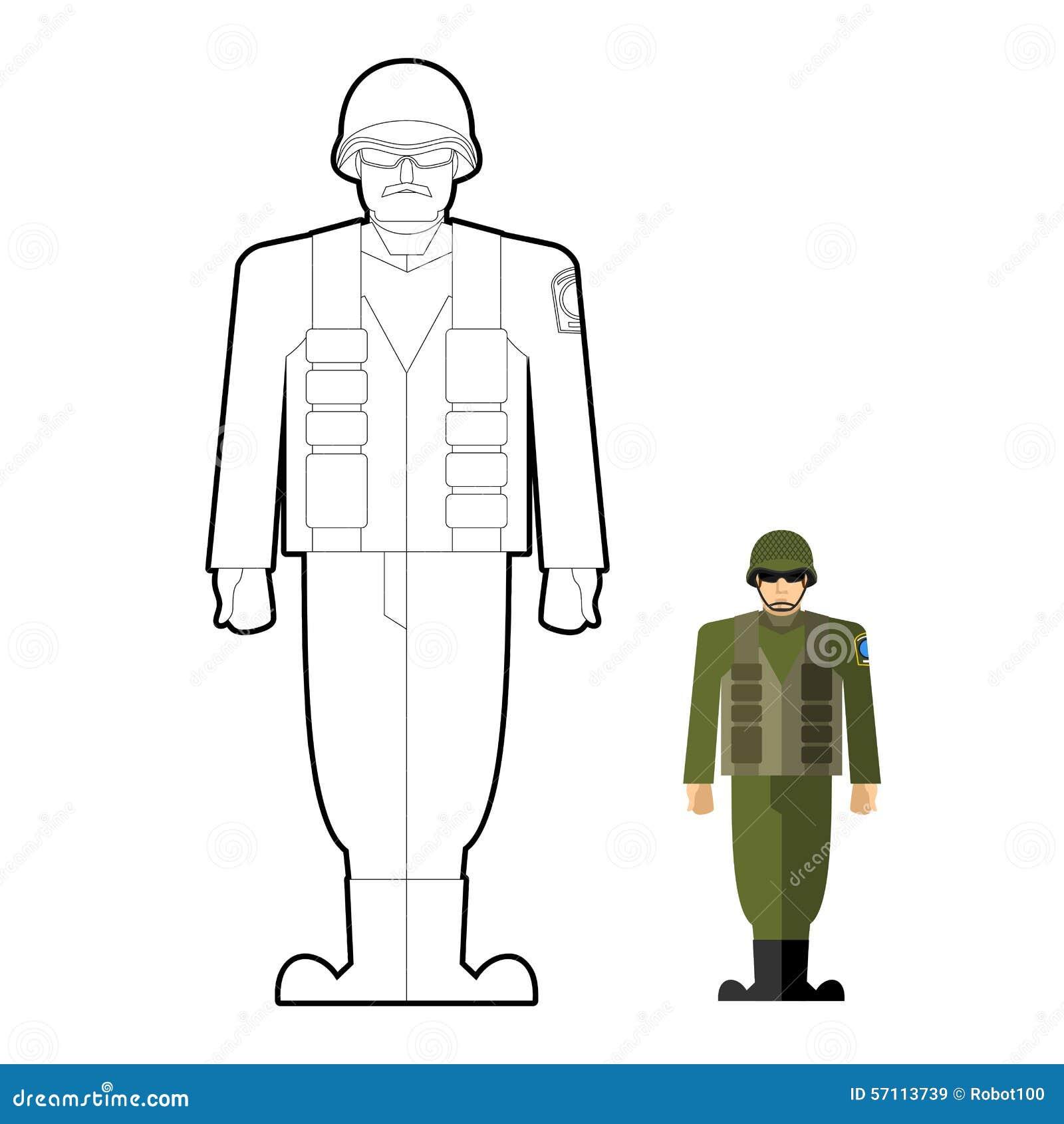 Livre de coloriage de soldats habillement militaire - Dessin de militaire ...