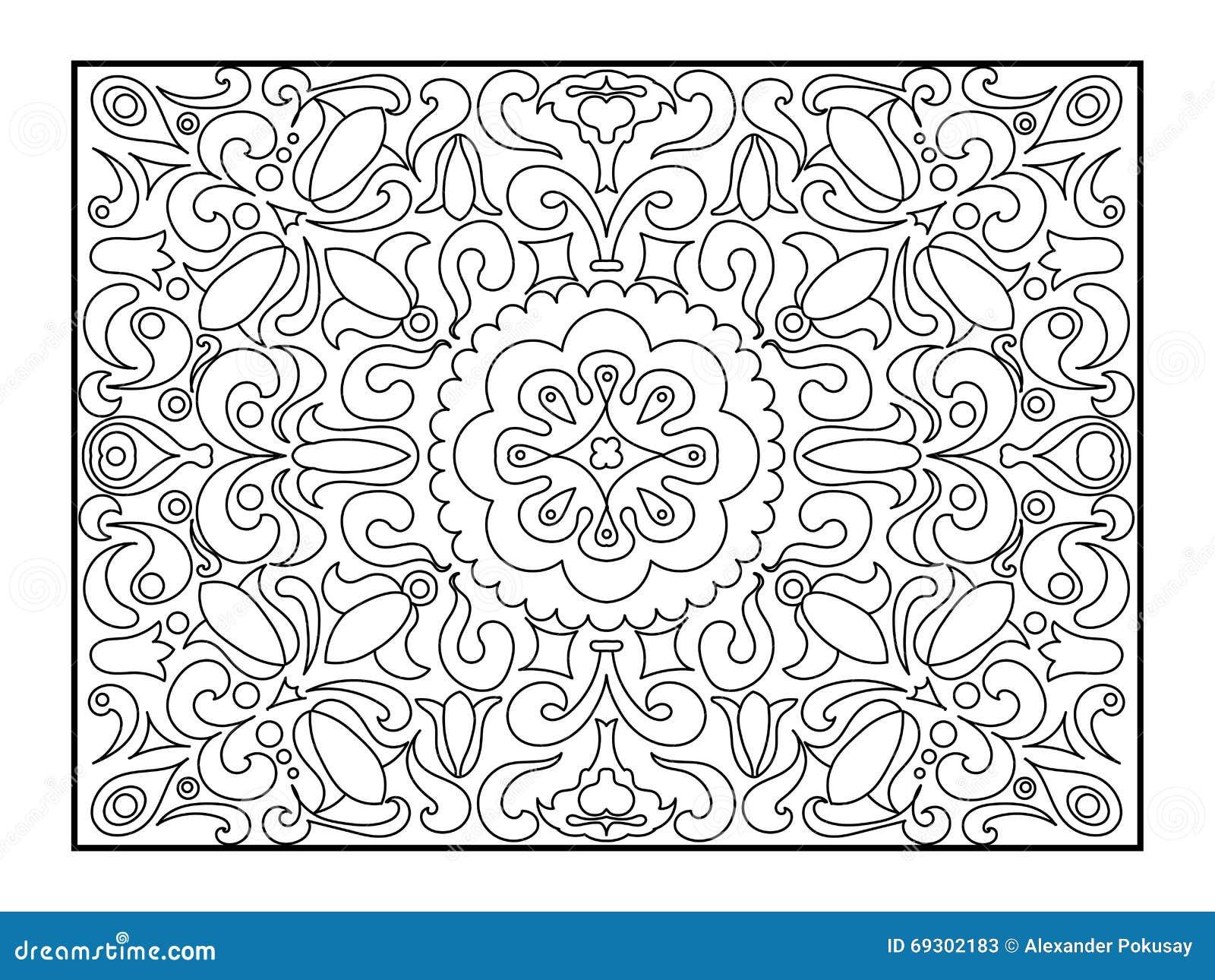 Livre de coloriage de tapis pour le vecteur d 39 adultes - Tappeto mandala ...