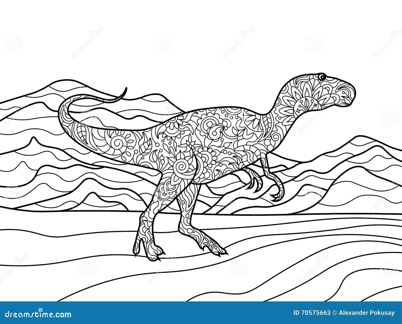 Coloriage Dinosaure Adulte.Livre De Coloriage De Tyrannosaure Pour Le Vecteur D Adultes