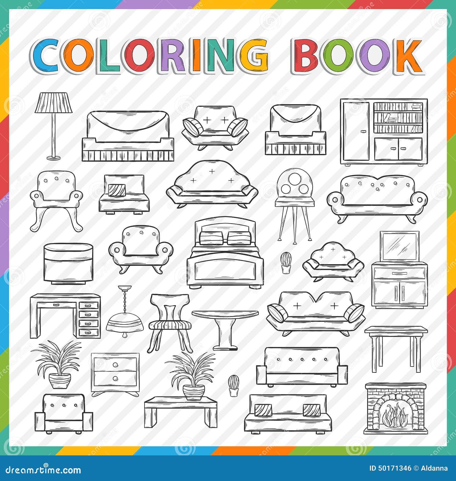 livre de coloriage de vecteur int rieur la maison. Black Bedroom Furniture Sets. Home Design Ideas