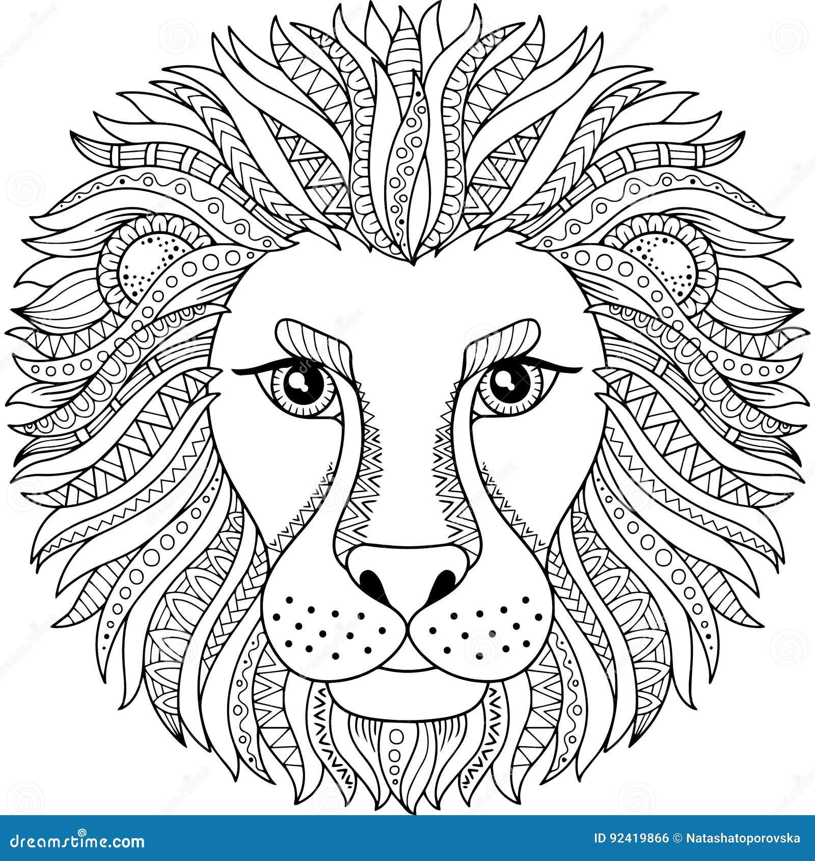Livre De Coloriage De Vecteur Pour L Adulte Silhouette De Lion D