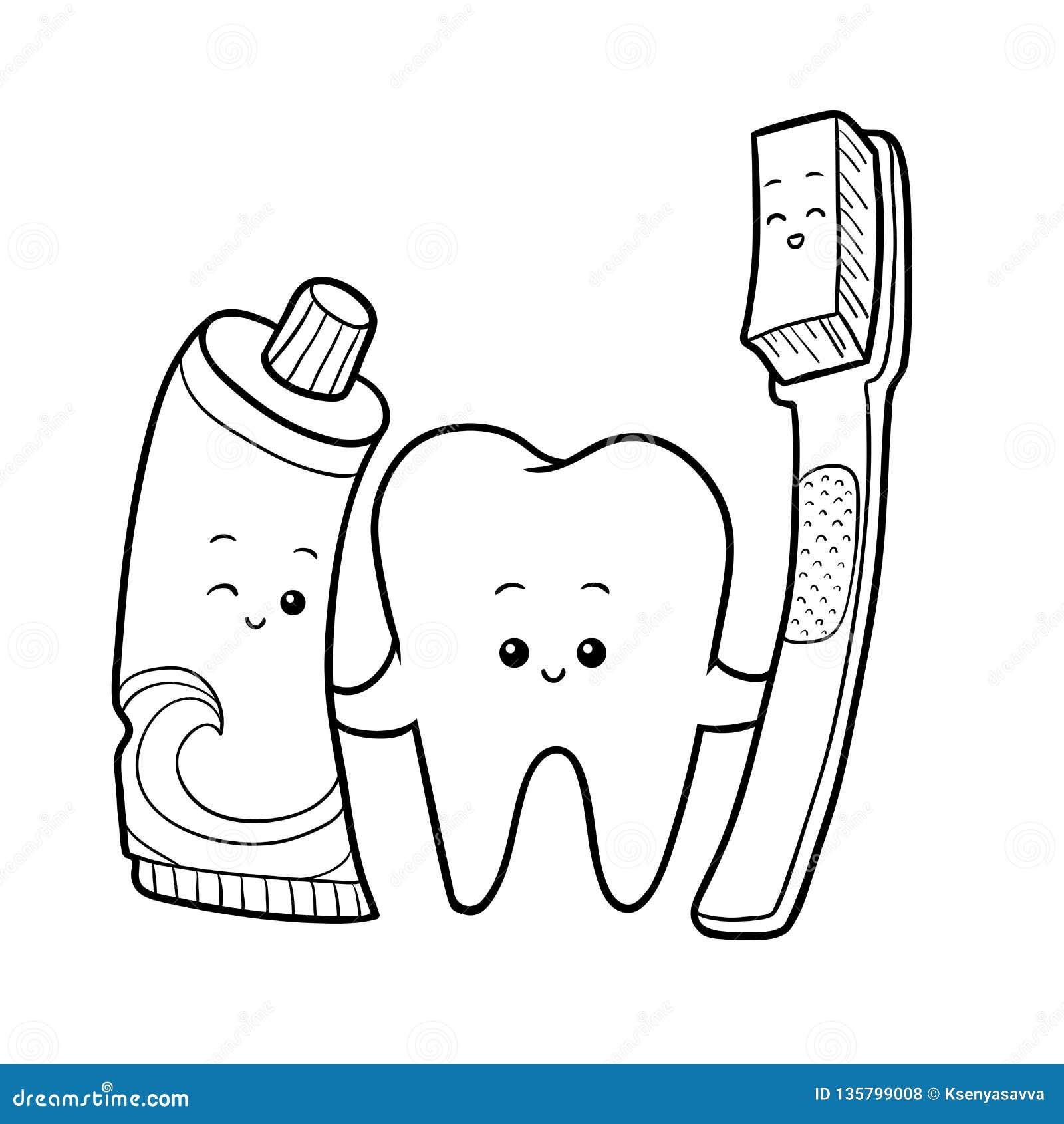 Livre De Coloriage Dent Et Brosse à Dents Et Pâte Dentifrice
