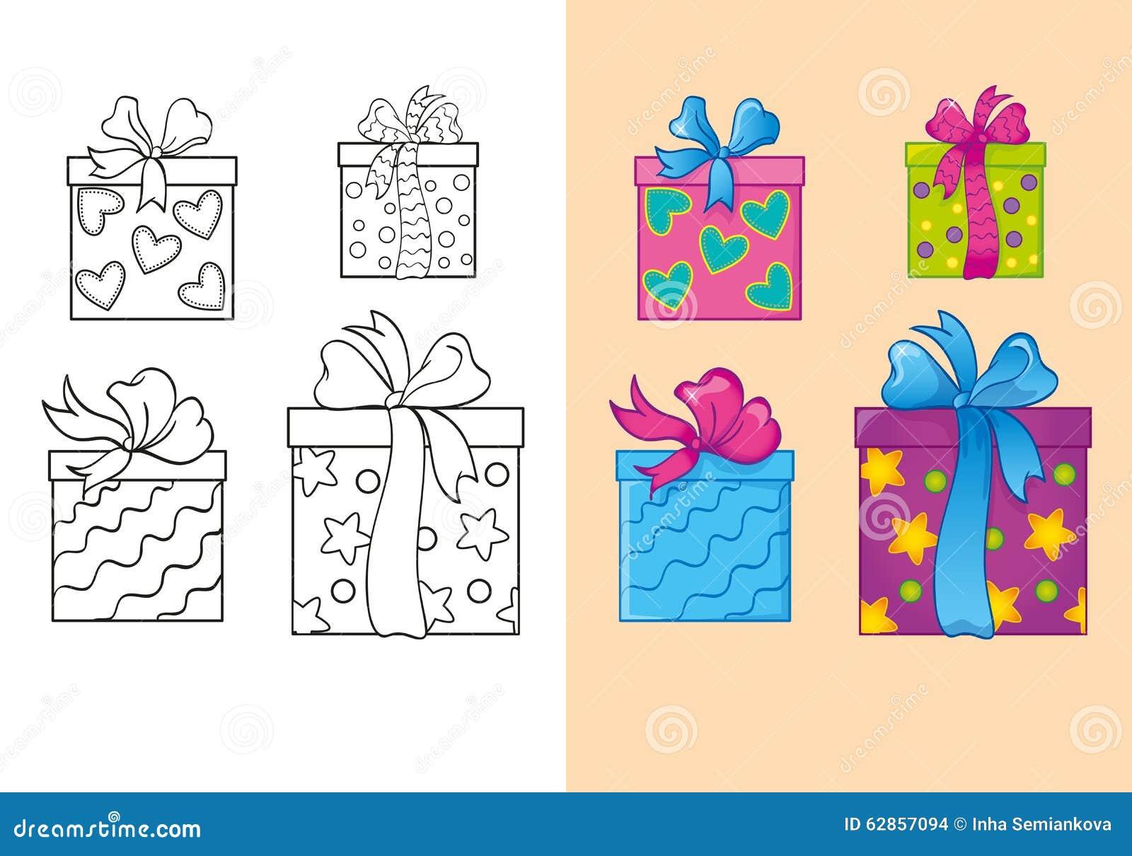 Livre De Coloriage Des Boite Cadeau De Place De Noel D Ensemble