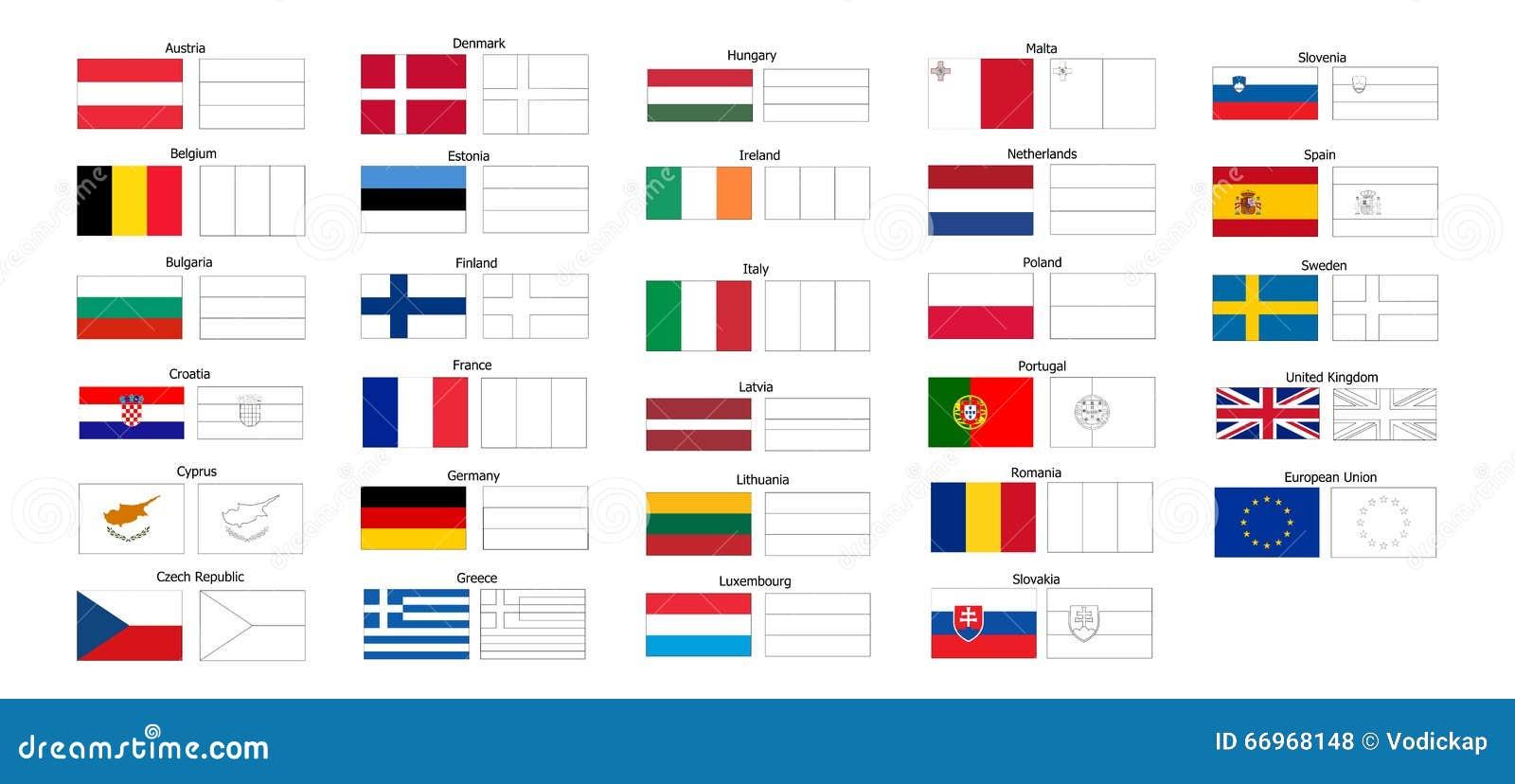 Livre de coloriage des drapeaux de pays d 39 ue illustration - Drapeaux a colorier ...