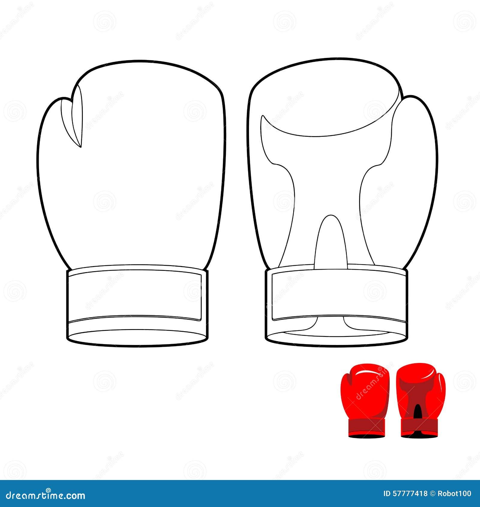 Livre de coloriage des gants de boxe l 39 illustration de - Gant de boxe dessin ...
