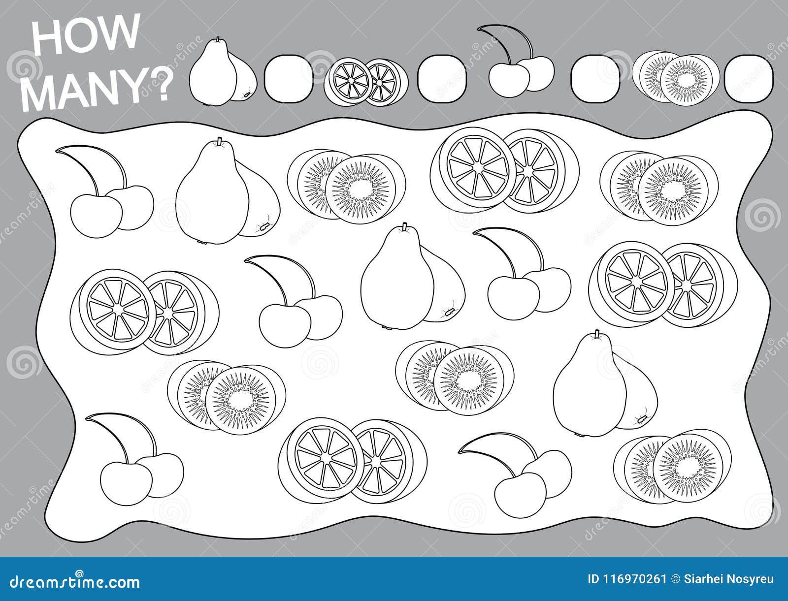 Coloriage Kiwi Fruit.Livre De Coloriage Et Jeu Educatif Combien De Fruits Pour Des