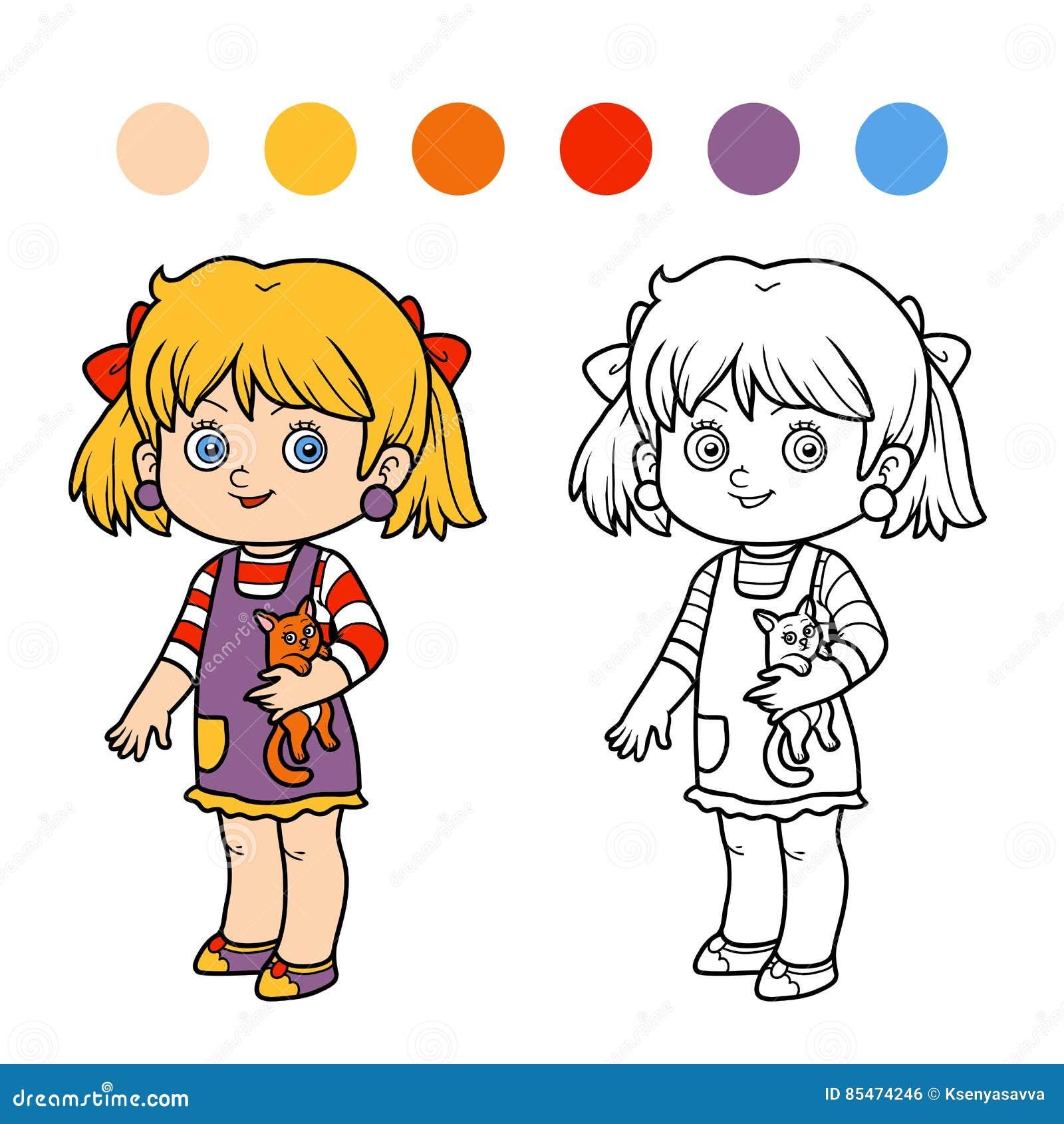 Coloriage Fille Et Chat.Livre De Coloriage Fille Avec Un Chat Illustration De