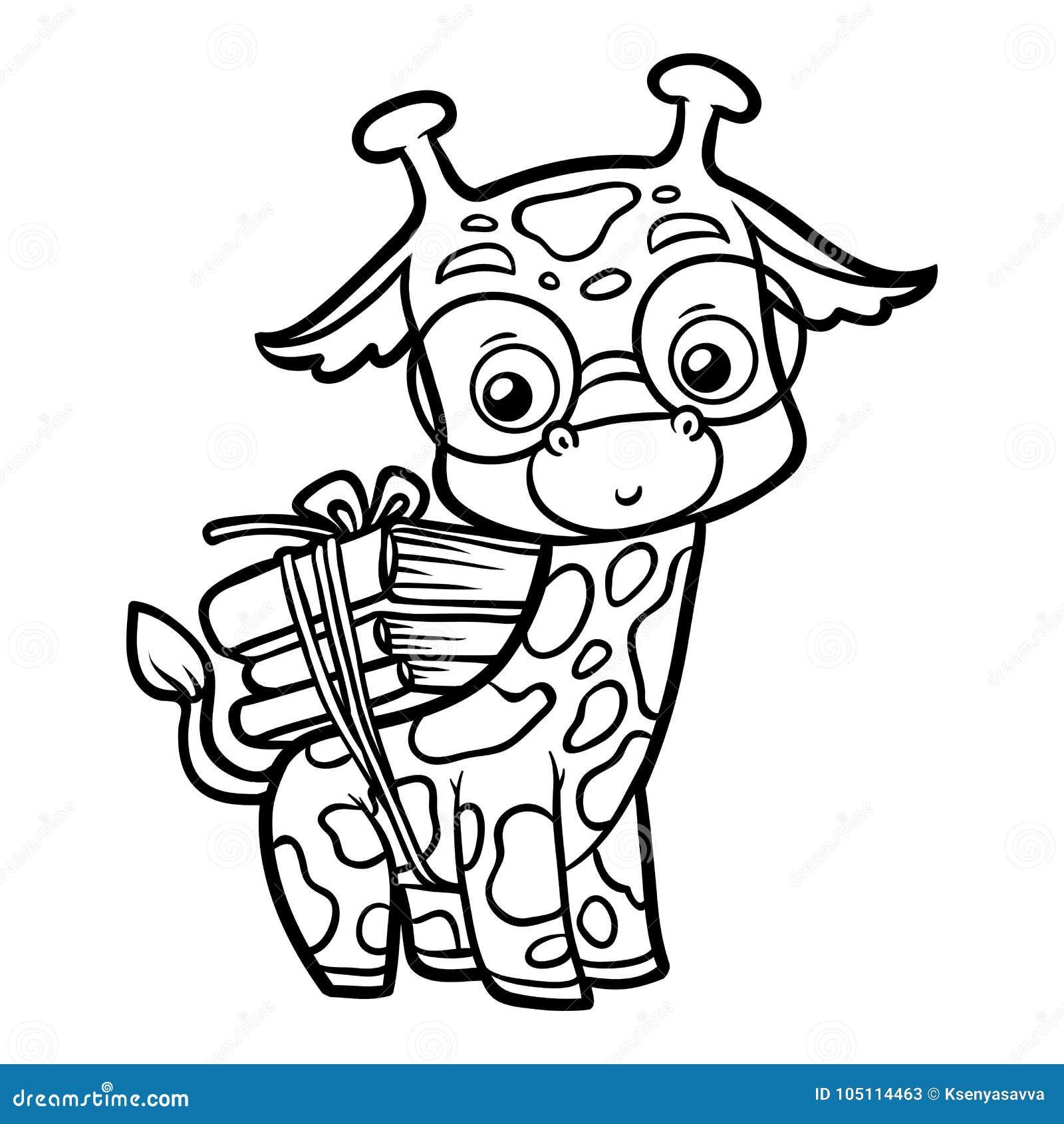 Livre De Coloriage Girafe Et Livres Illustration De Vecteur