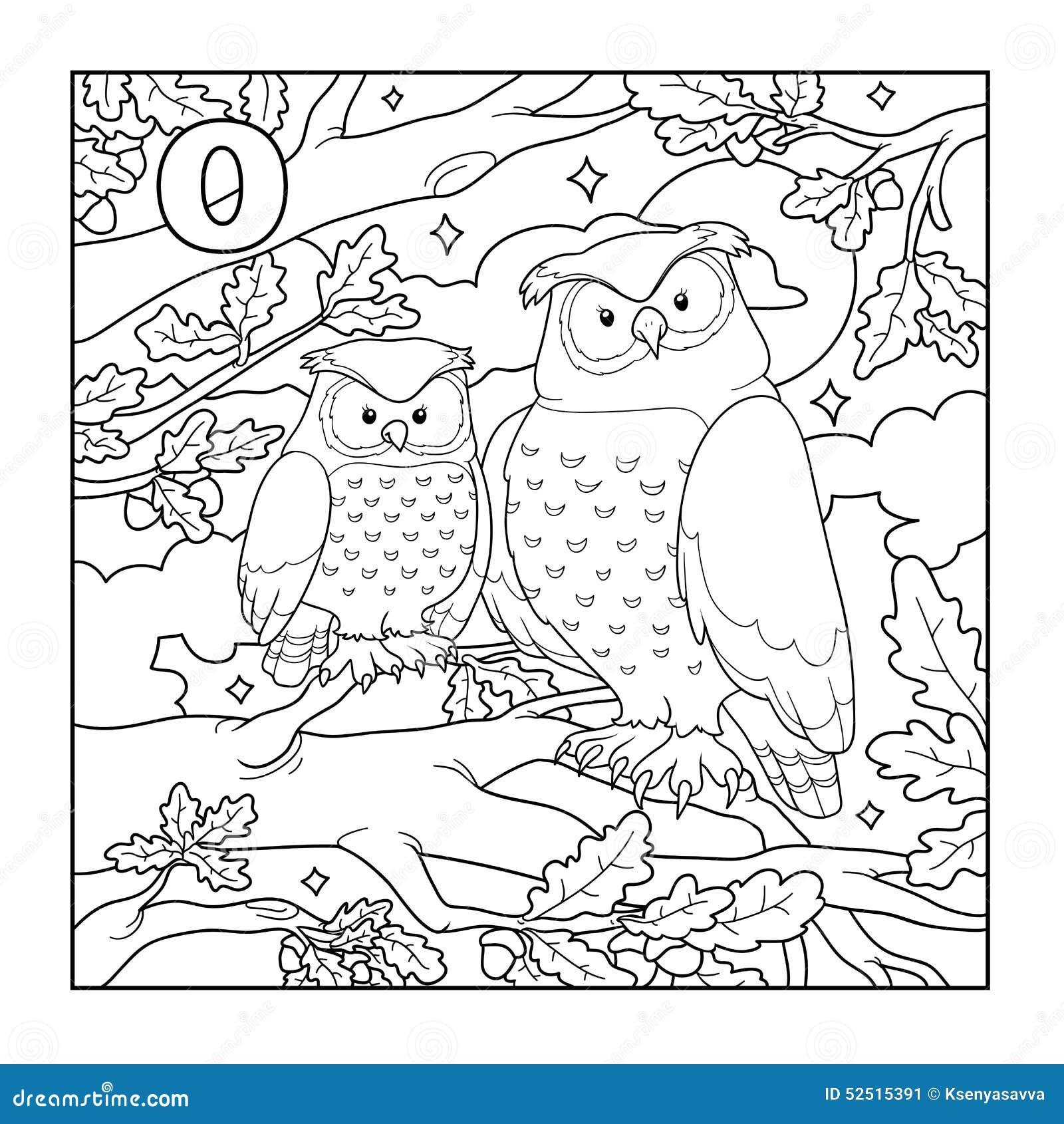 Livre de coloriage hibou illustration sans couleur lettre o illustration de vecteur - Coloriage de hibou ...