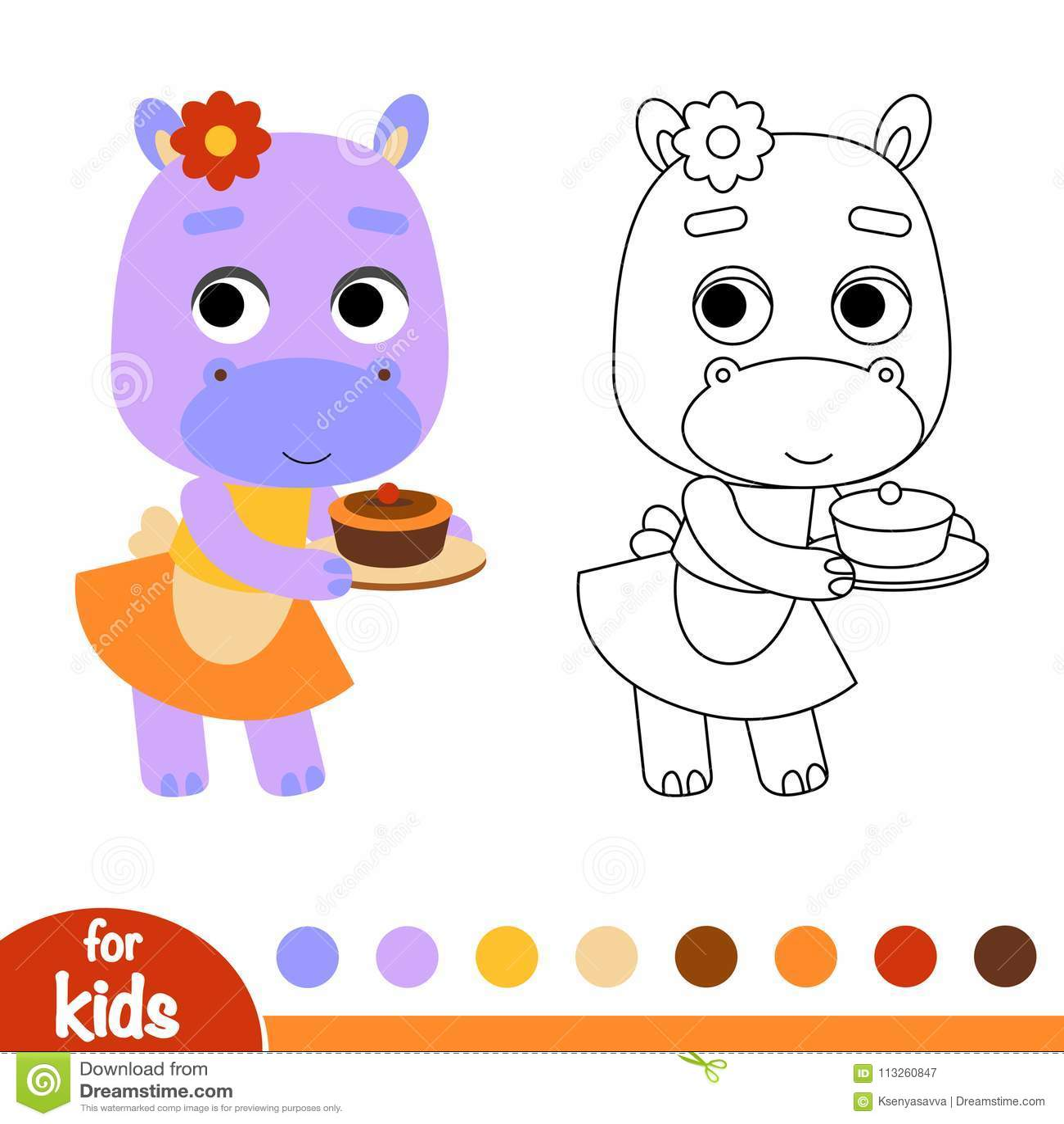 Livre De Coloriage Hippopotame Et Un Gâteau Illustration De
