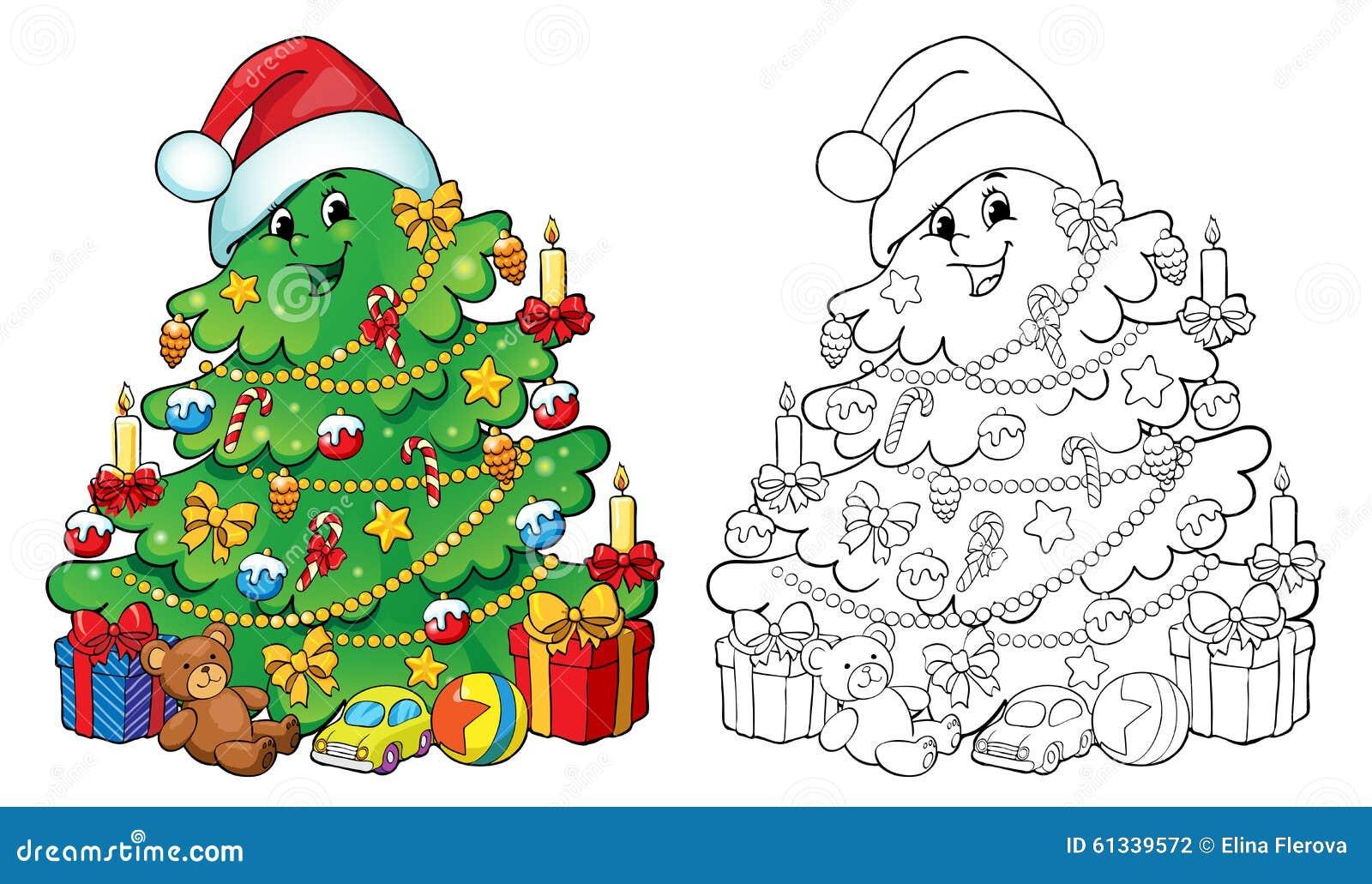 Livre De Coloriage Illustration Arbre De Noel Avec L Illustration