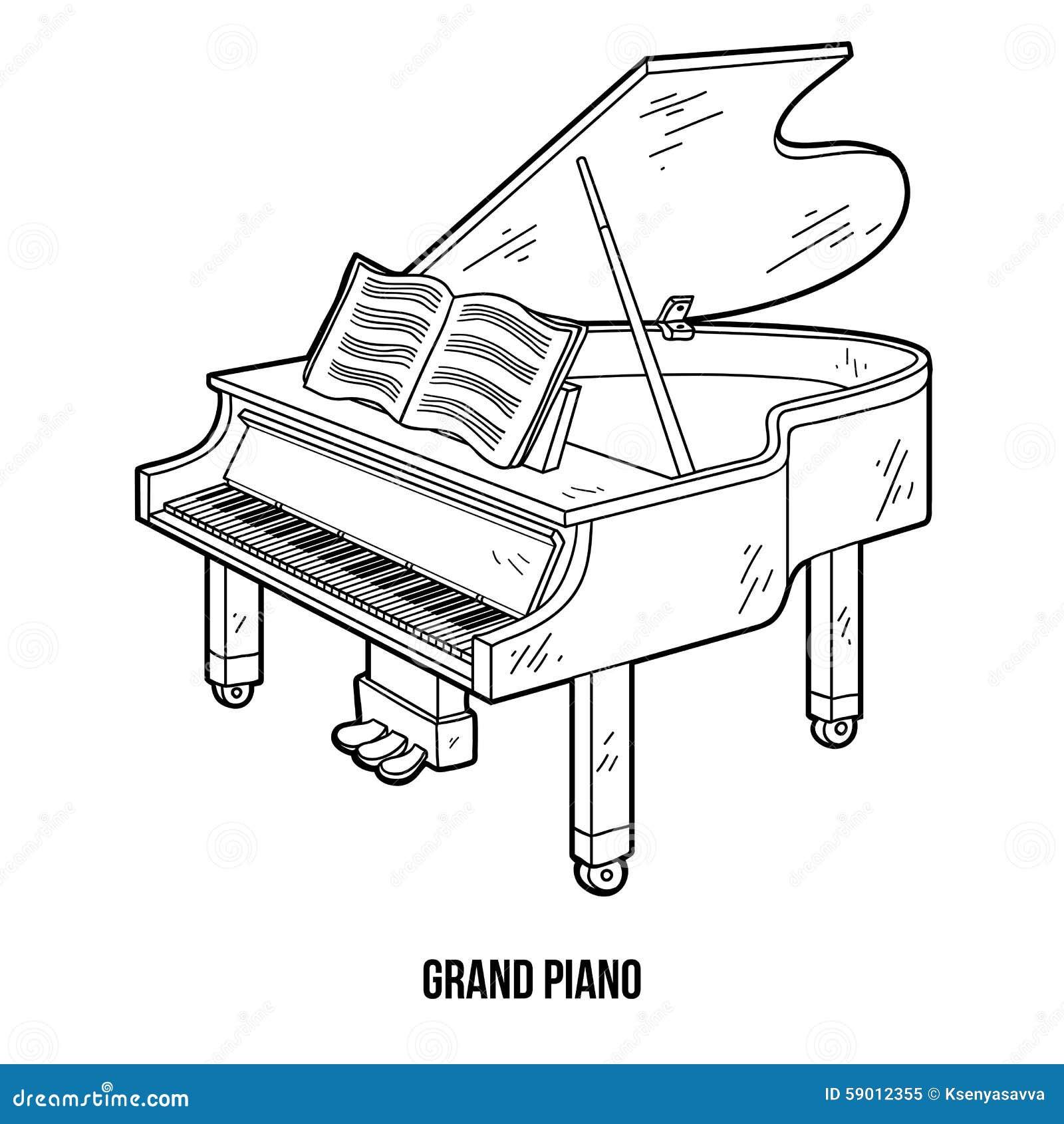 Livre de coloriage instruments de musique piano queue for Disegno di piano domestico