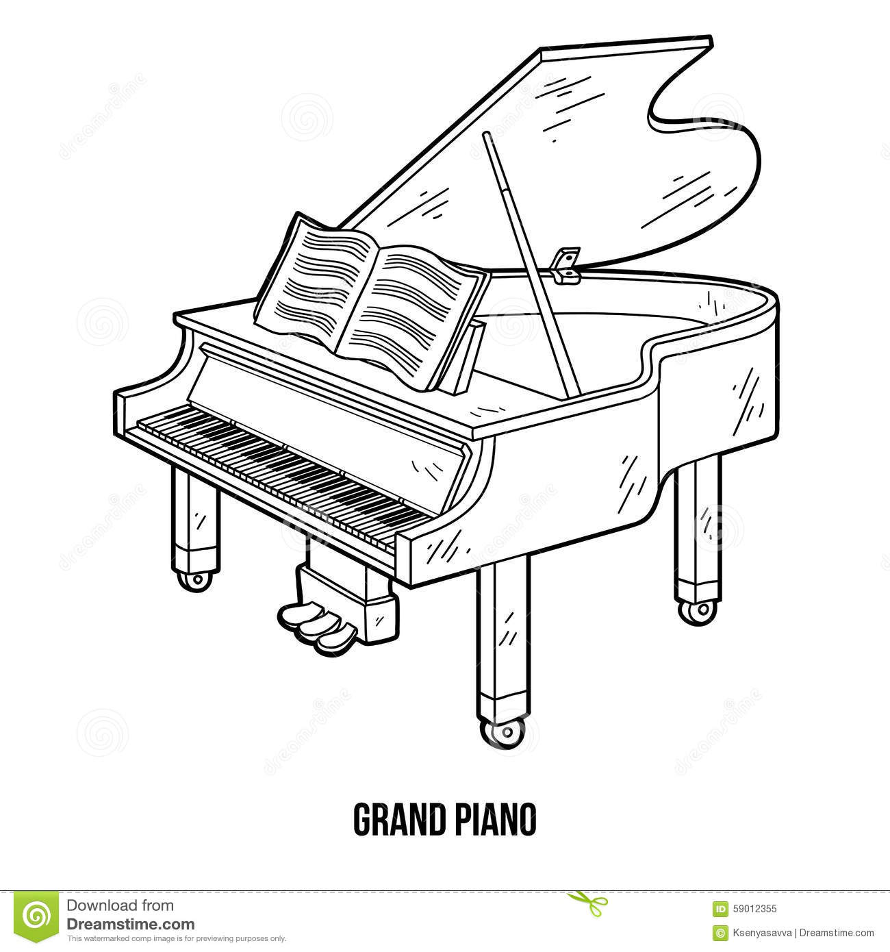 Livre de coloriage instruments de musique piano queue illustration de vecteur image - Coloriage piano ...