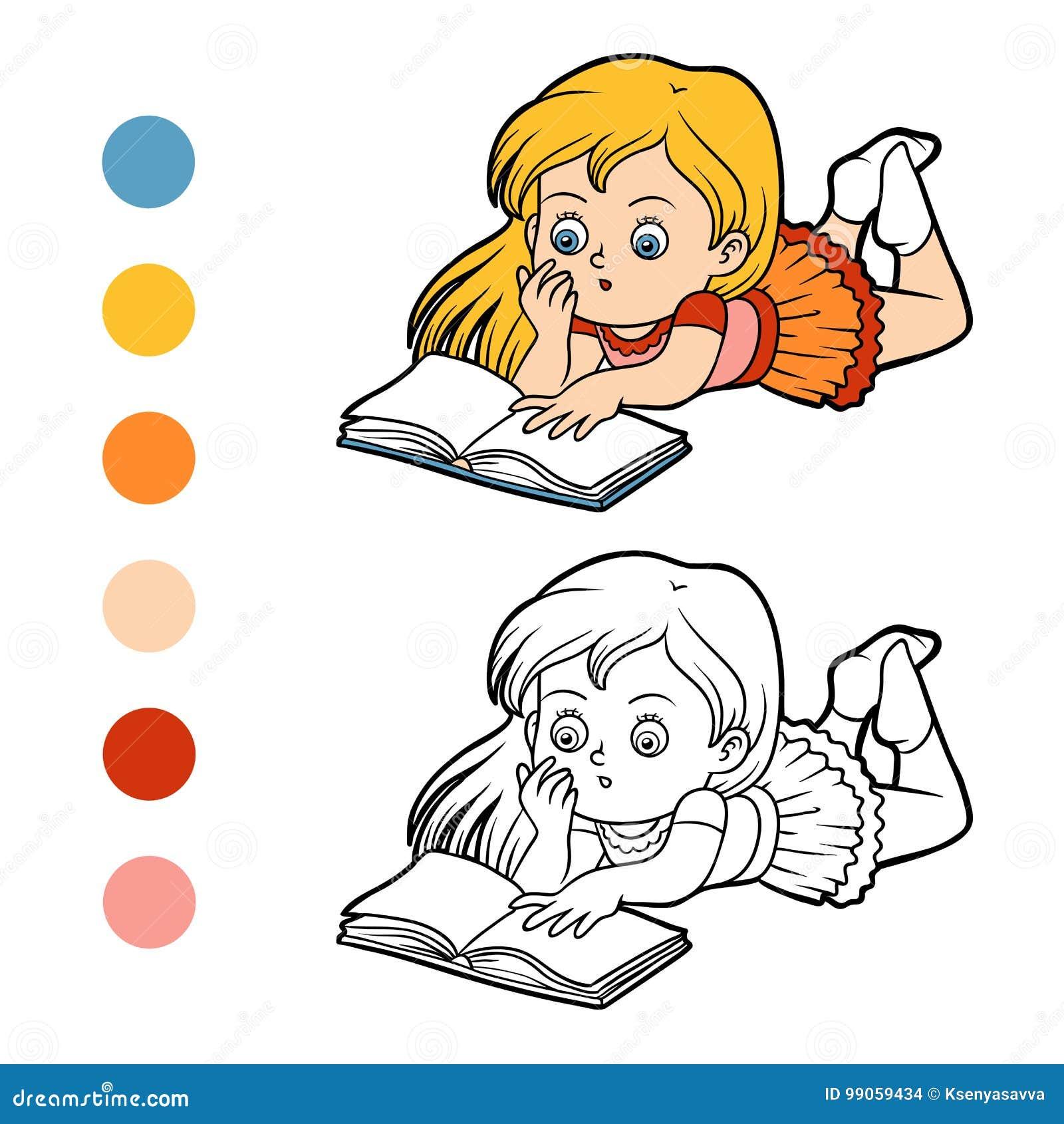Livre De Coloriage Jeune Fille Lisant Un Livre Illustration
