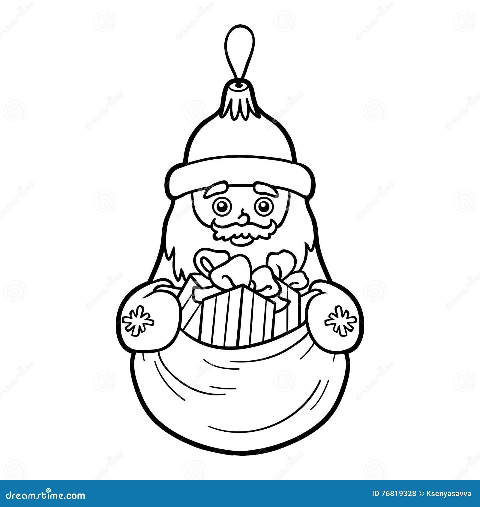 Arbre Pour Coloriage.Livre De Coloriage Jouet D Arbre De Noel Santa Claus Illustration