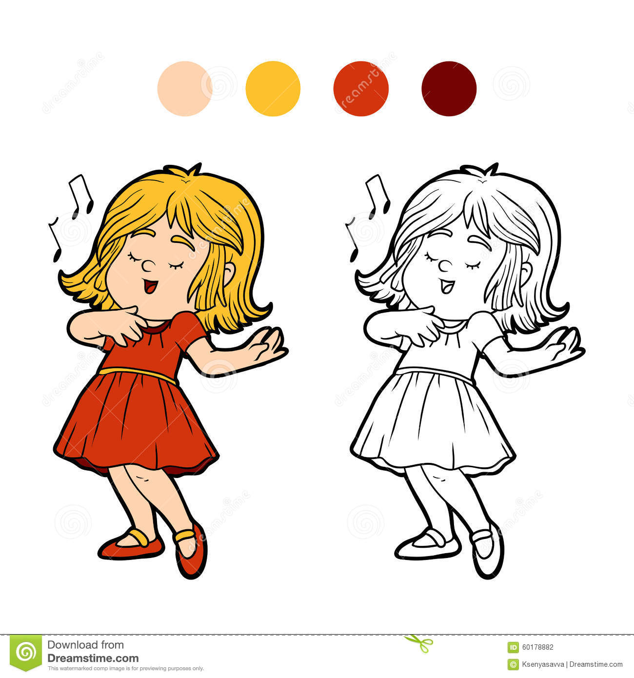 livre de coloriage la petite fille dans une robe rouge chante une chanson illustration de. Black Bedroom Furniture Sets. Home Design Ideas