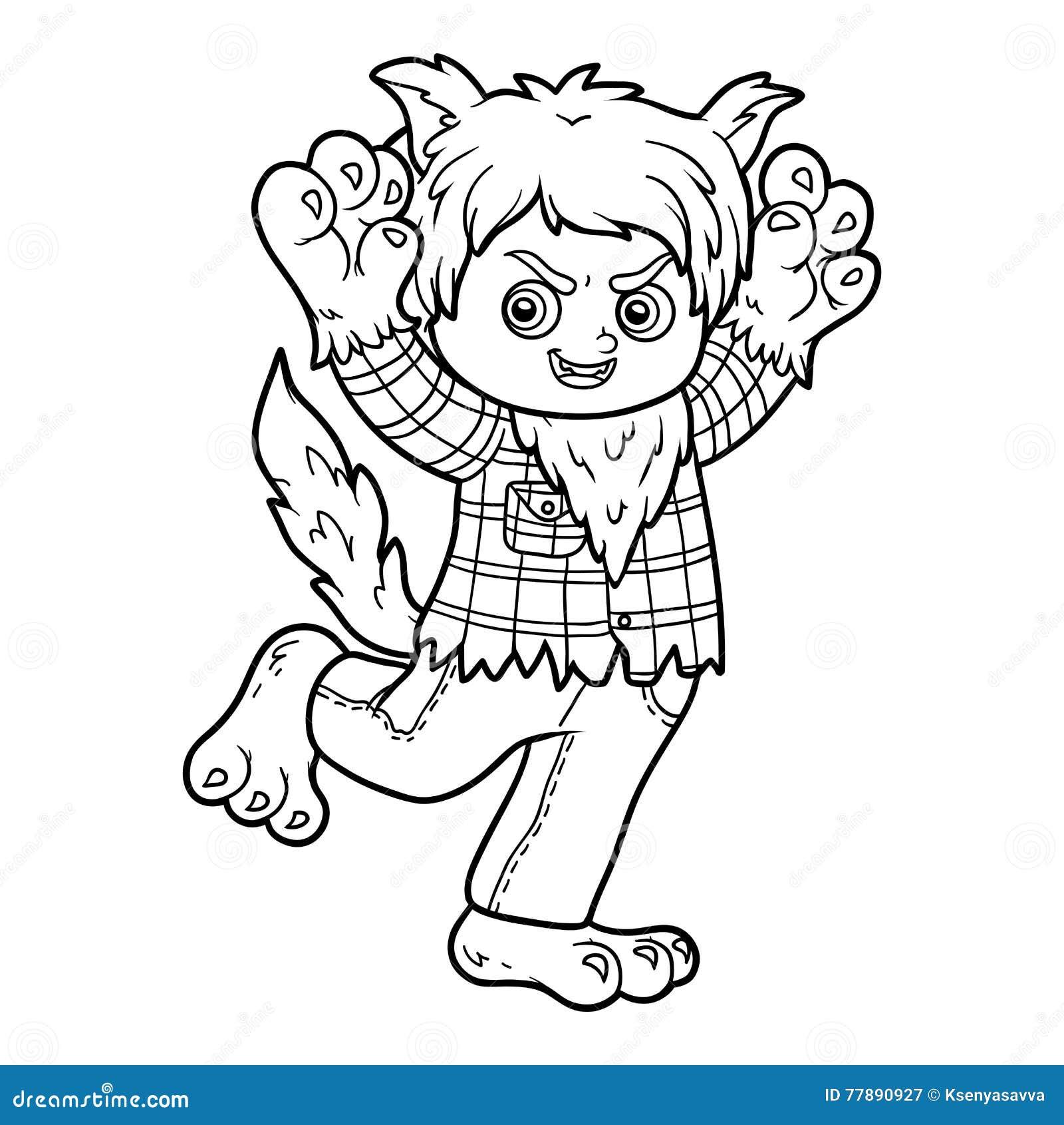 Livre de coloriage loup garou illustration de vecteur - Dessin loup garou ...