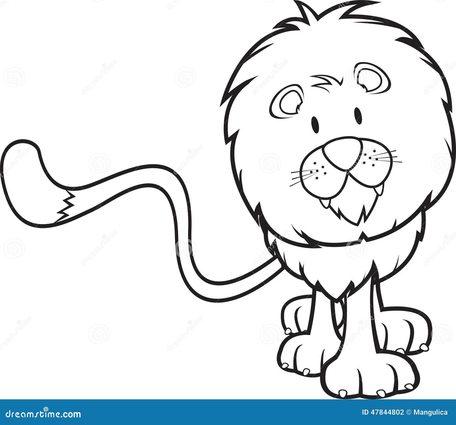 Livre de coloriage mignon de lion illustration de vecteur illustration du cartoon amical - Images de lions a imprimer ...