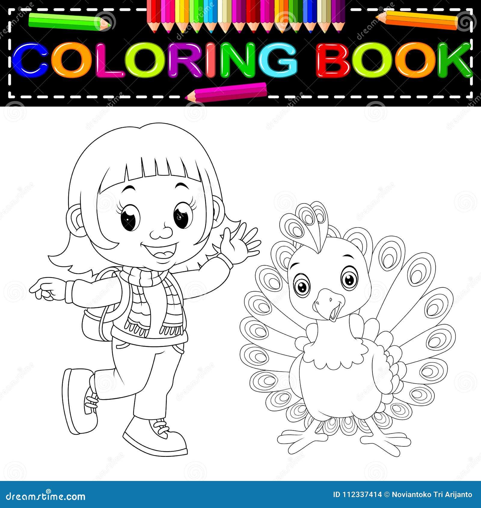 Livre De Coloriage Mignon De Fille Et De Paon Illustration De