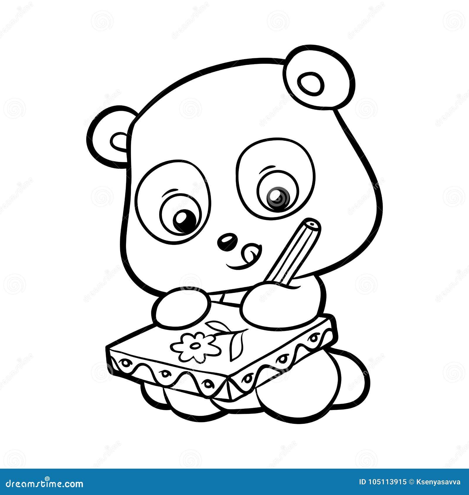Livre de coloriage panda illustration de vecteur illustration du noir 105113915 - Panda coloriage ...