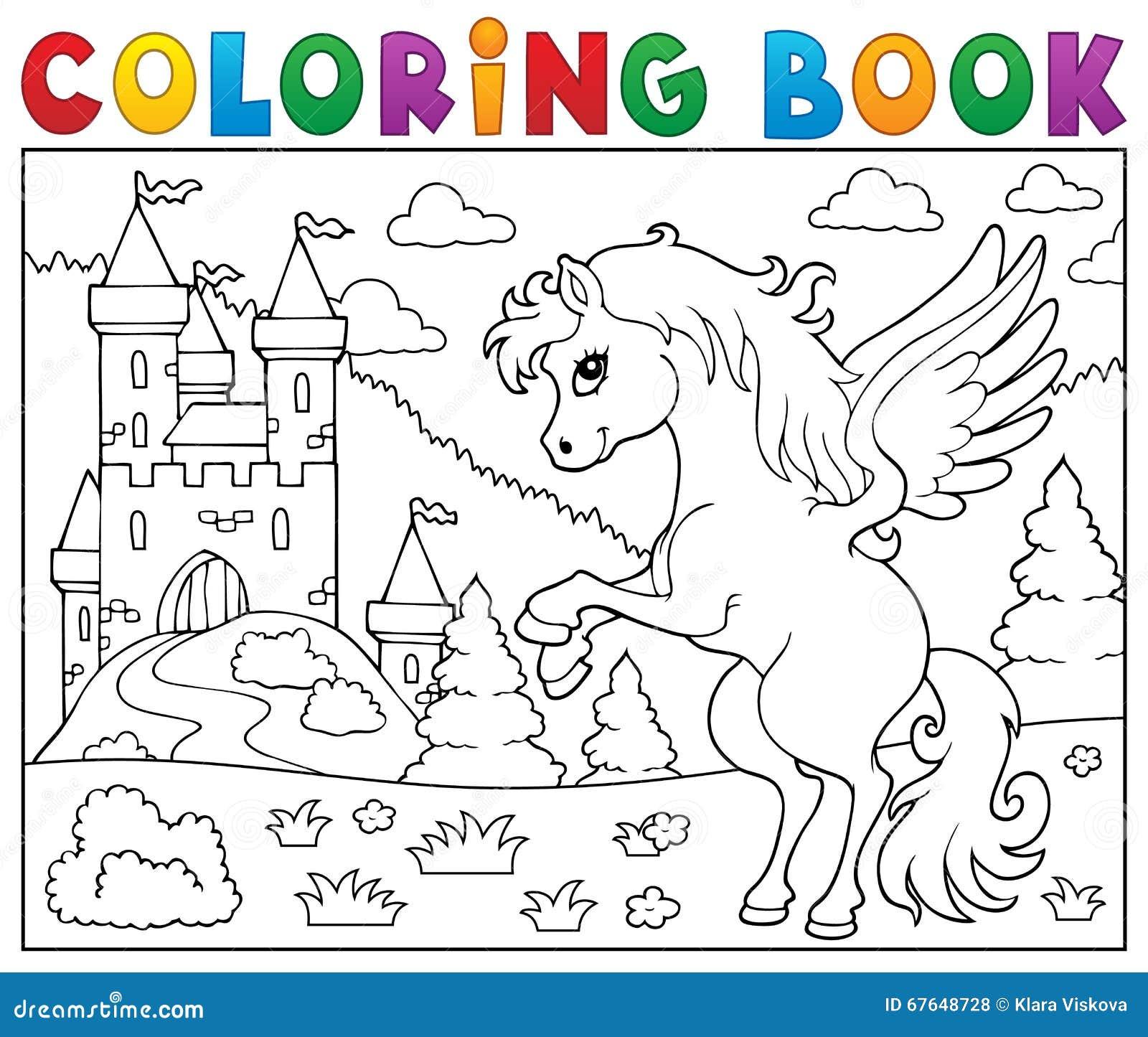 Livre de coloriage Pegasus près de château