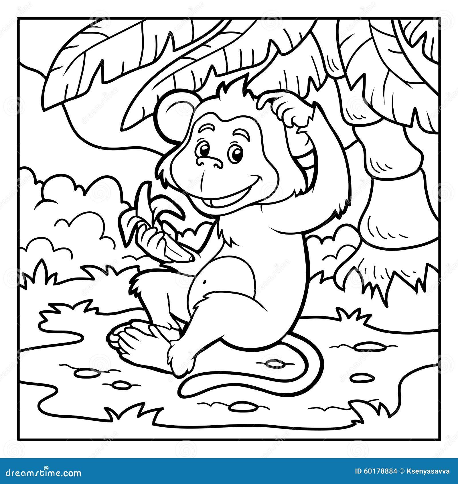 Livre de coloriage petit singe avec une banane illustration de vecteur illustration du - Coloriage petit singe ...