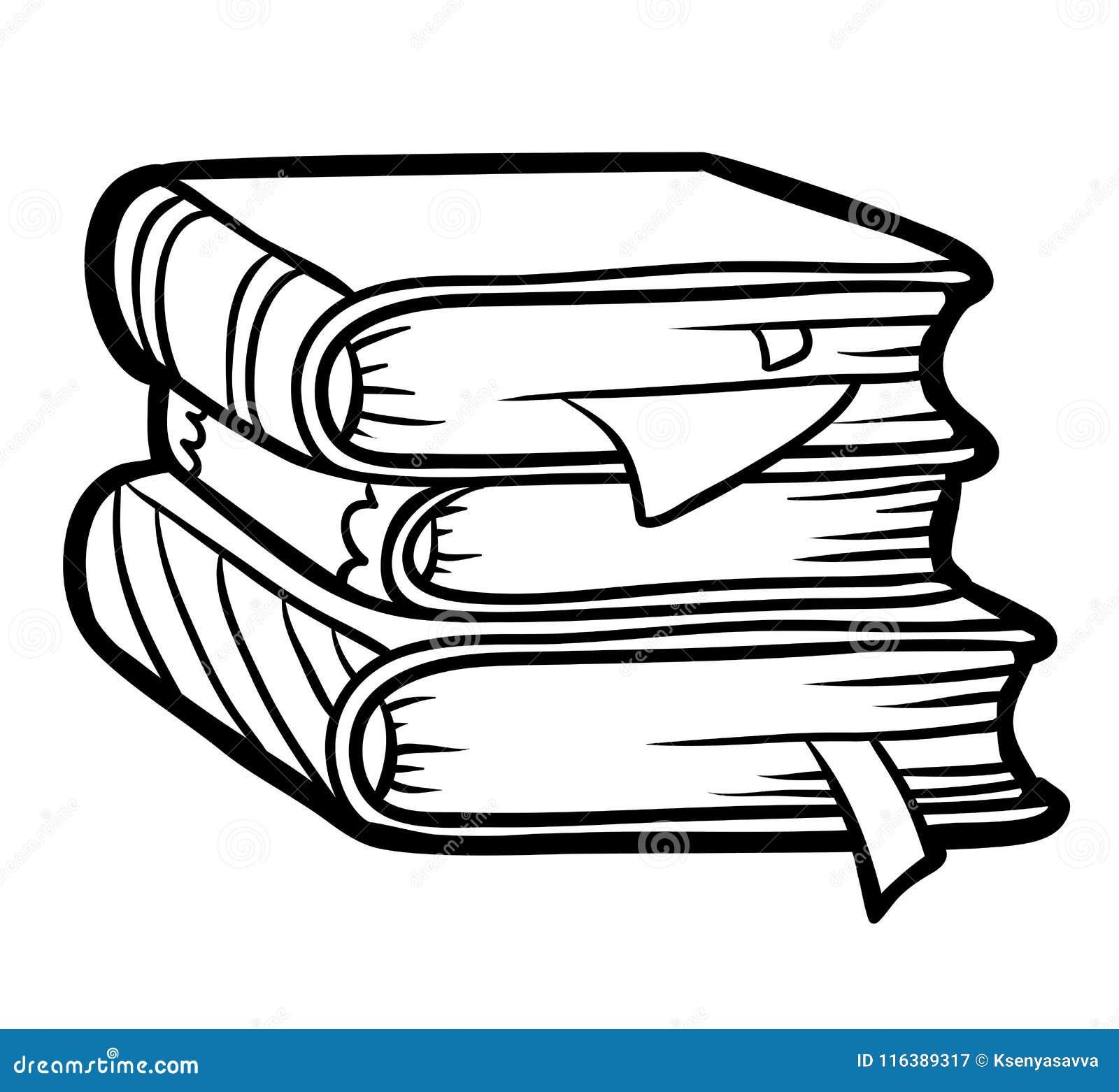 Livre De Coloriage Pile De Livres Illustration De Vecteur