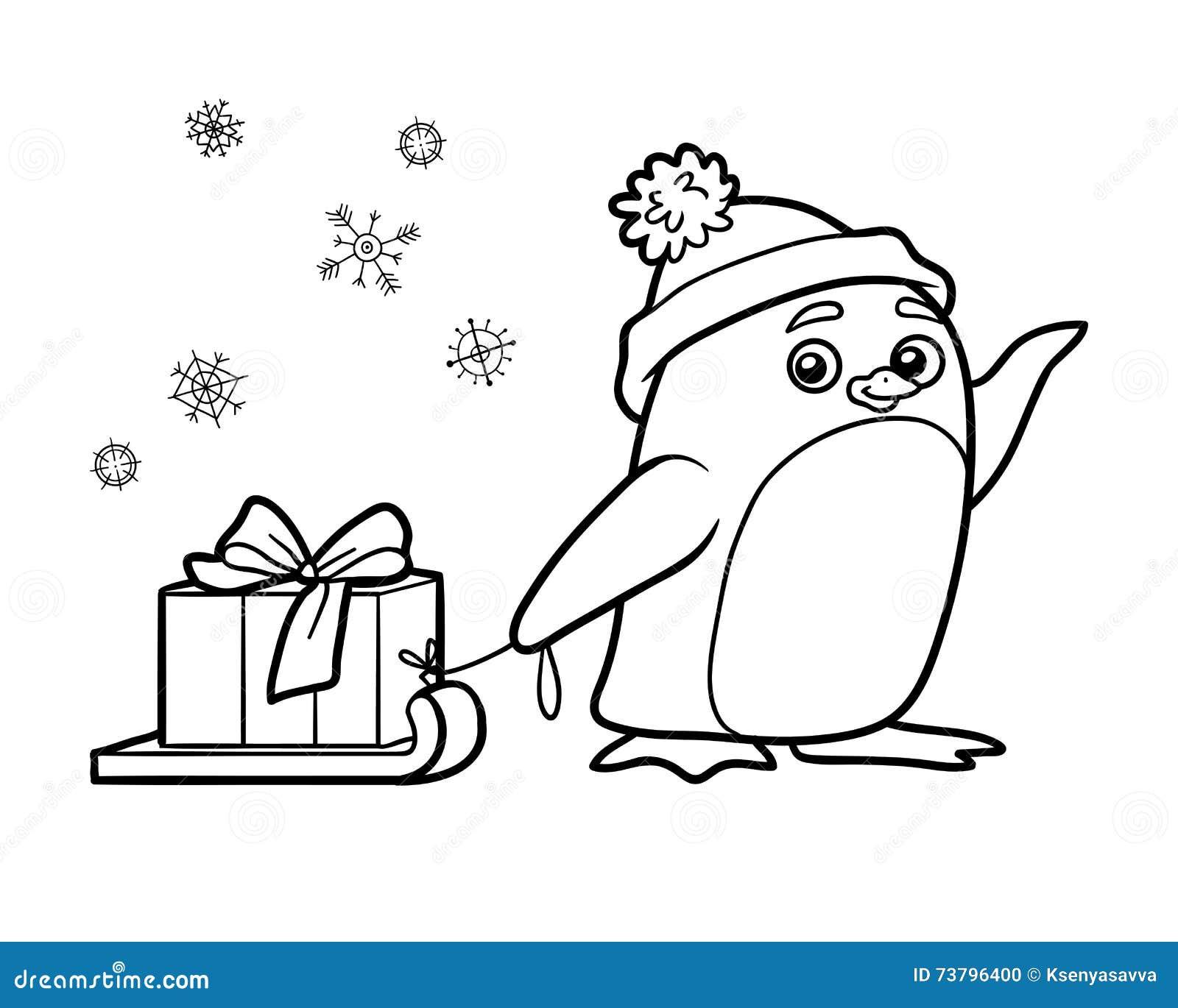 Livre De Coloriage, Pingouin Avec Le Cadeau De Noël Illustration