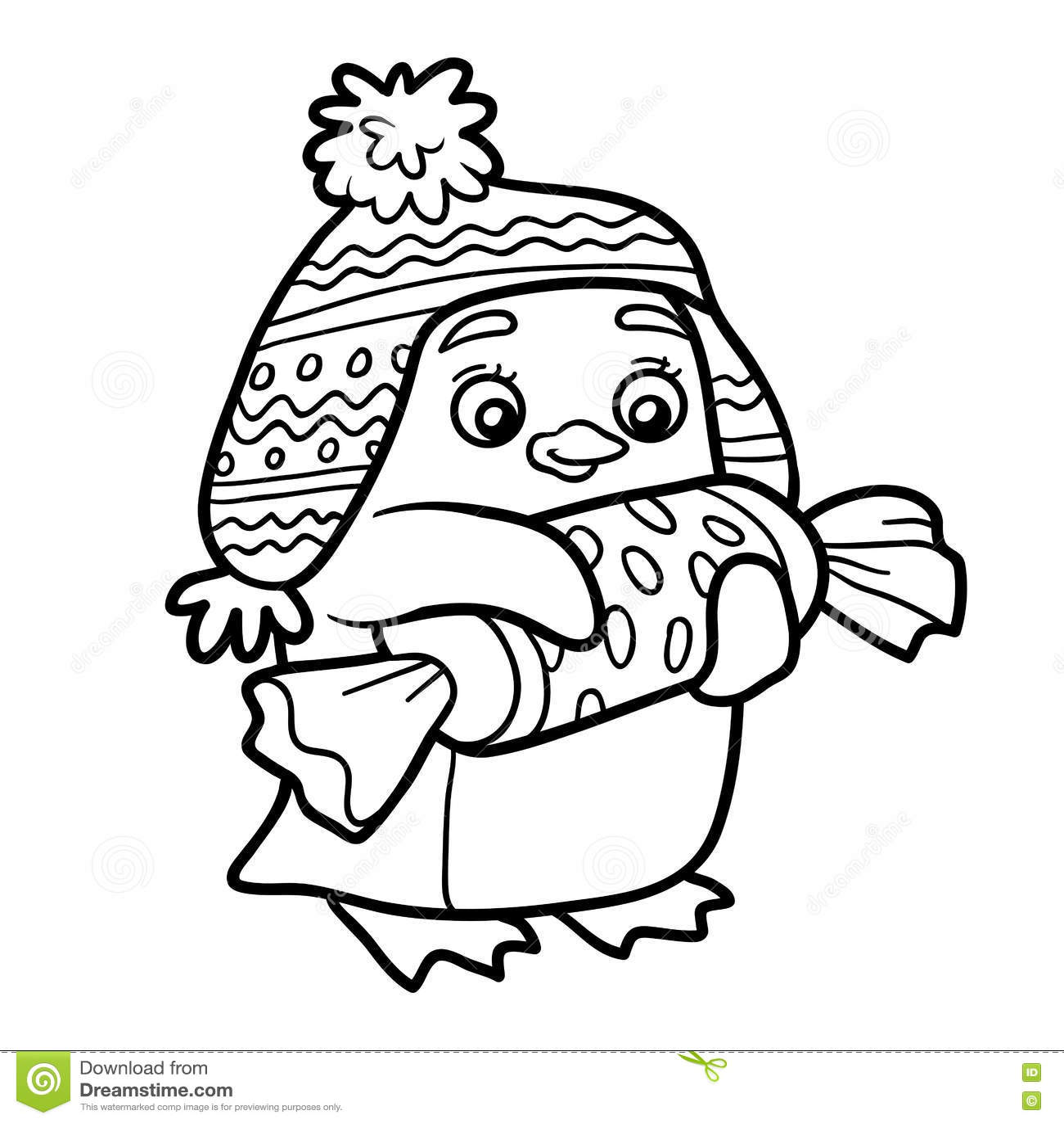 Livre de coloriage pingouin avec le cadeau de no l - Dessin pinguoin ...