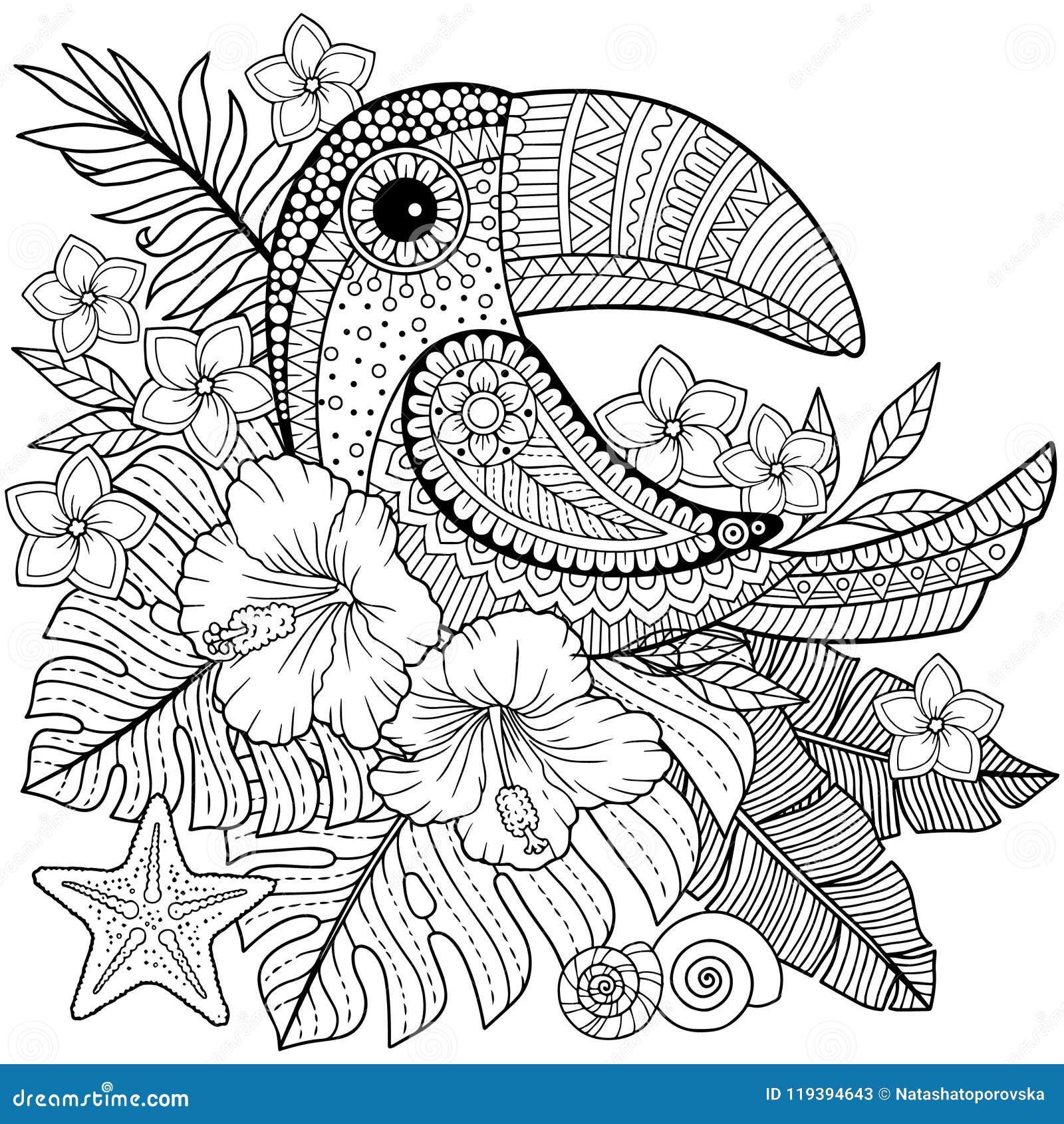 Coloriage Fleur Hawai.Livre De Coloriage Pour Des Adultes Toucan Parmi Les Feuilles Et Les