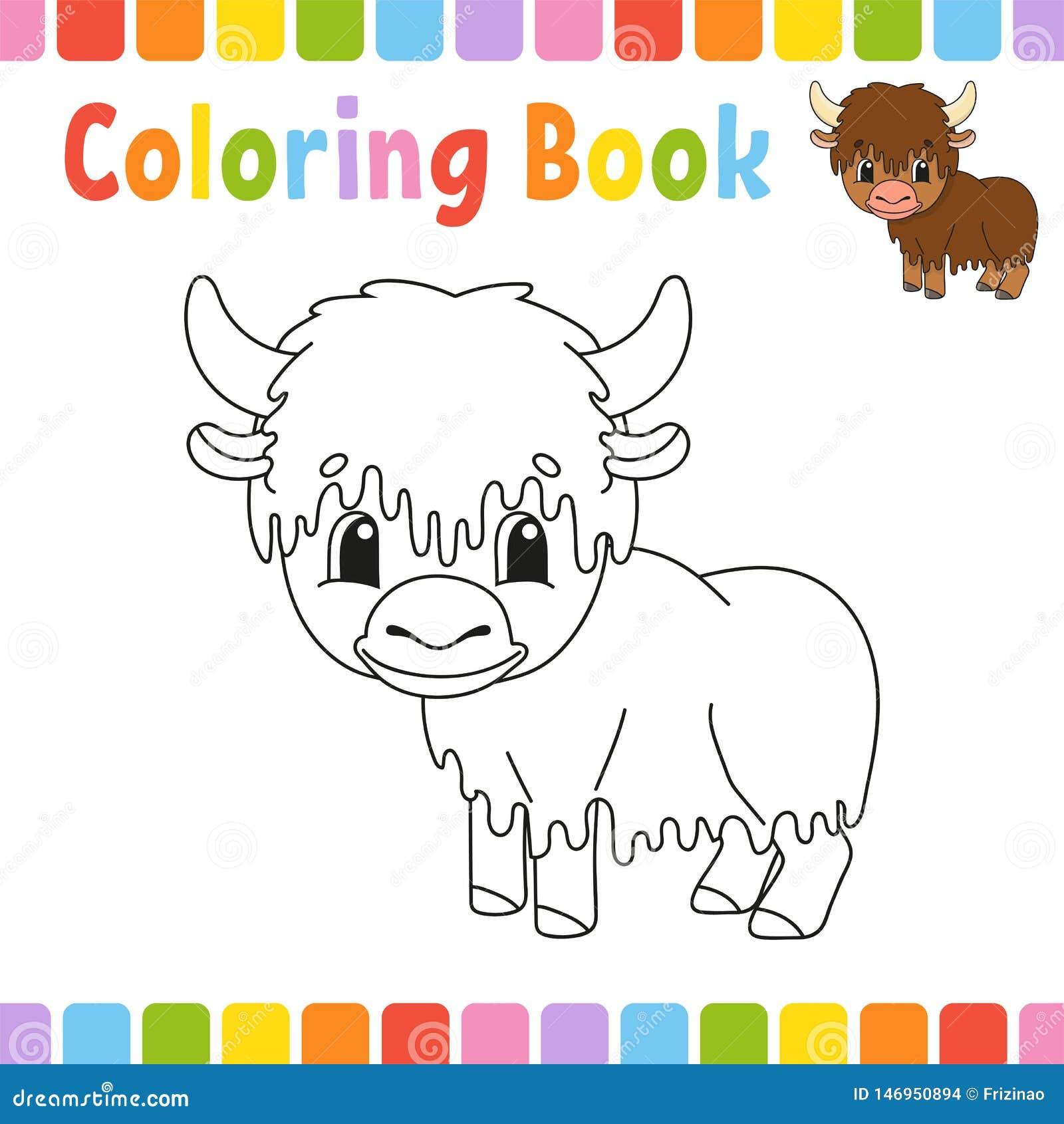 Livre de coloriage pour des enfants Caract?re gai Illustration de vecteur Style mignon de bande dessin?e Page d imagination pour