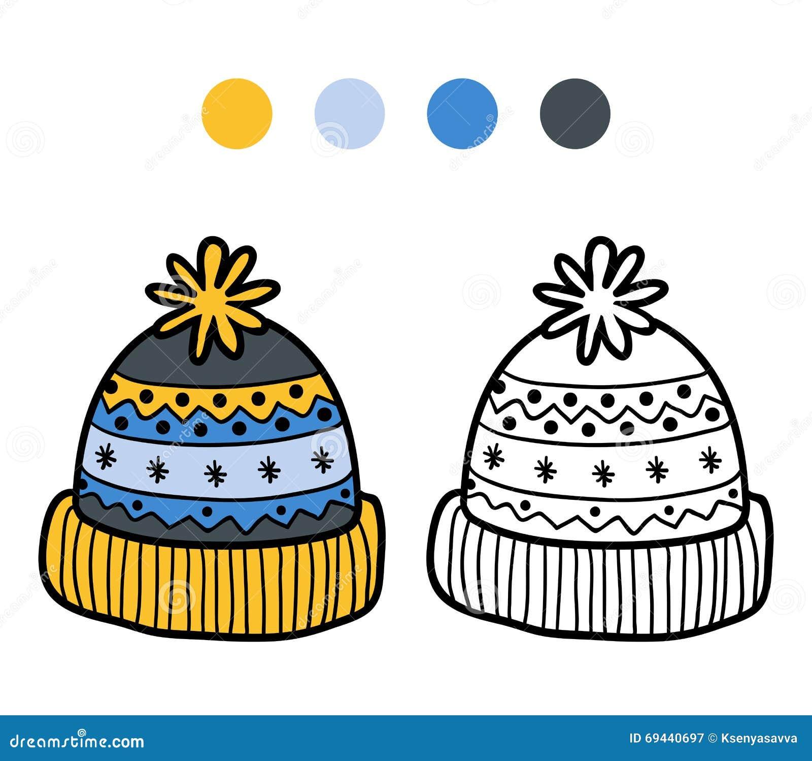 Coloriage Cheval Hiver.Livre De Coloriage Pour Des Enfants Chapeau Tricote D Hiver