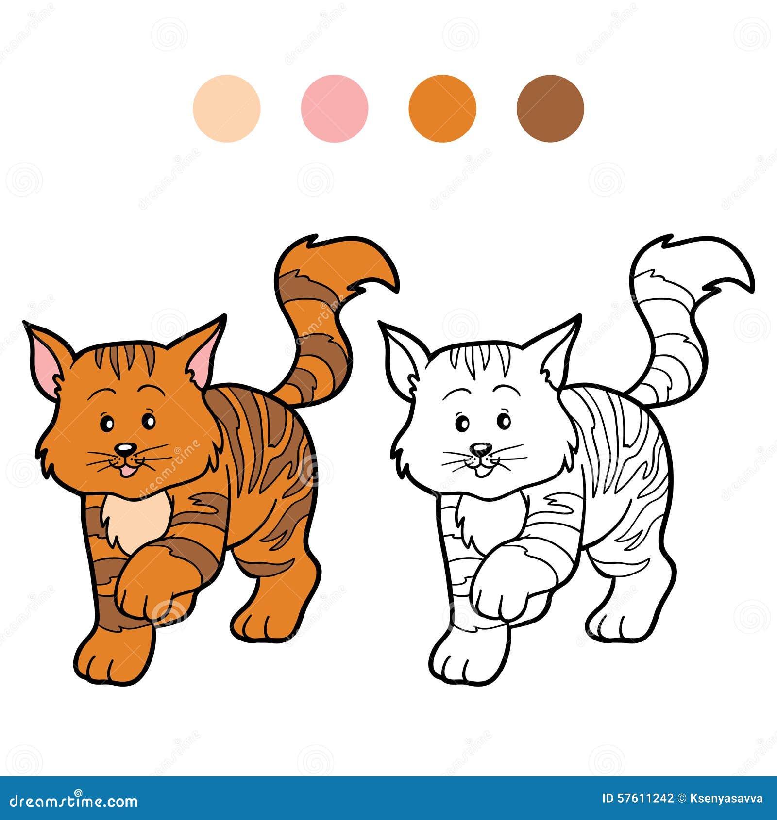 Coloriage Chat Raye.Livre De Coloriage Pour Des Enfants Chat Raye Illustration De